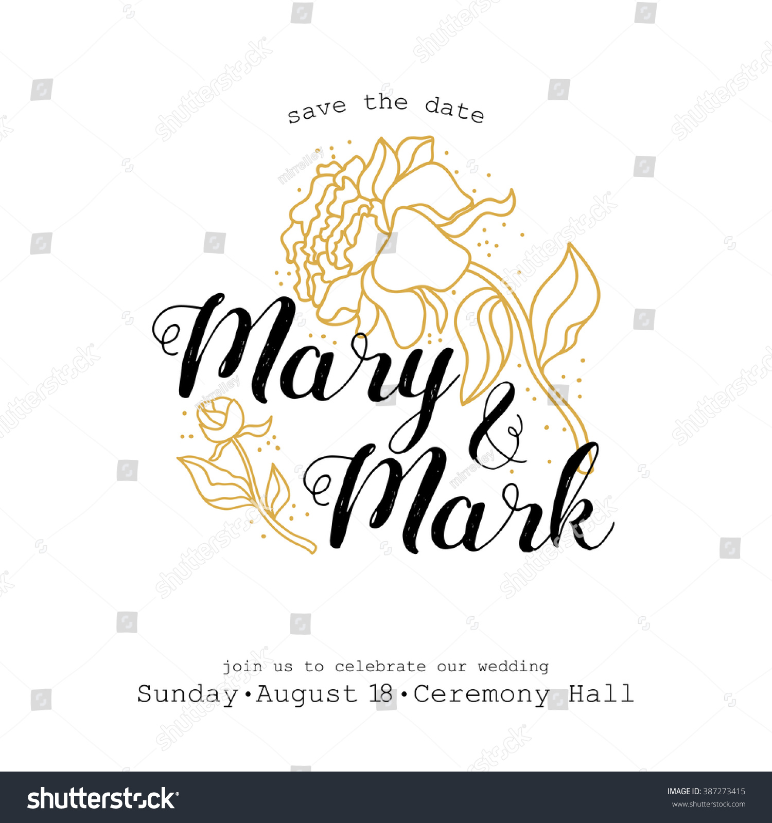 Wedding Invitation Template Golden Flowers Leaves Stock Vector ...