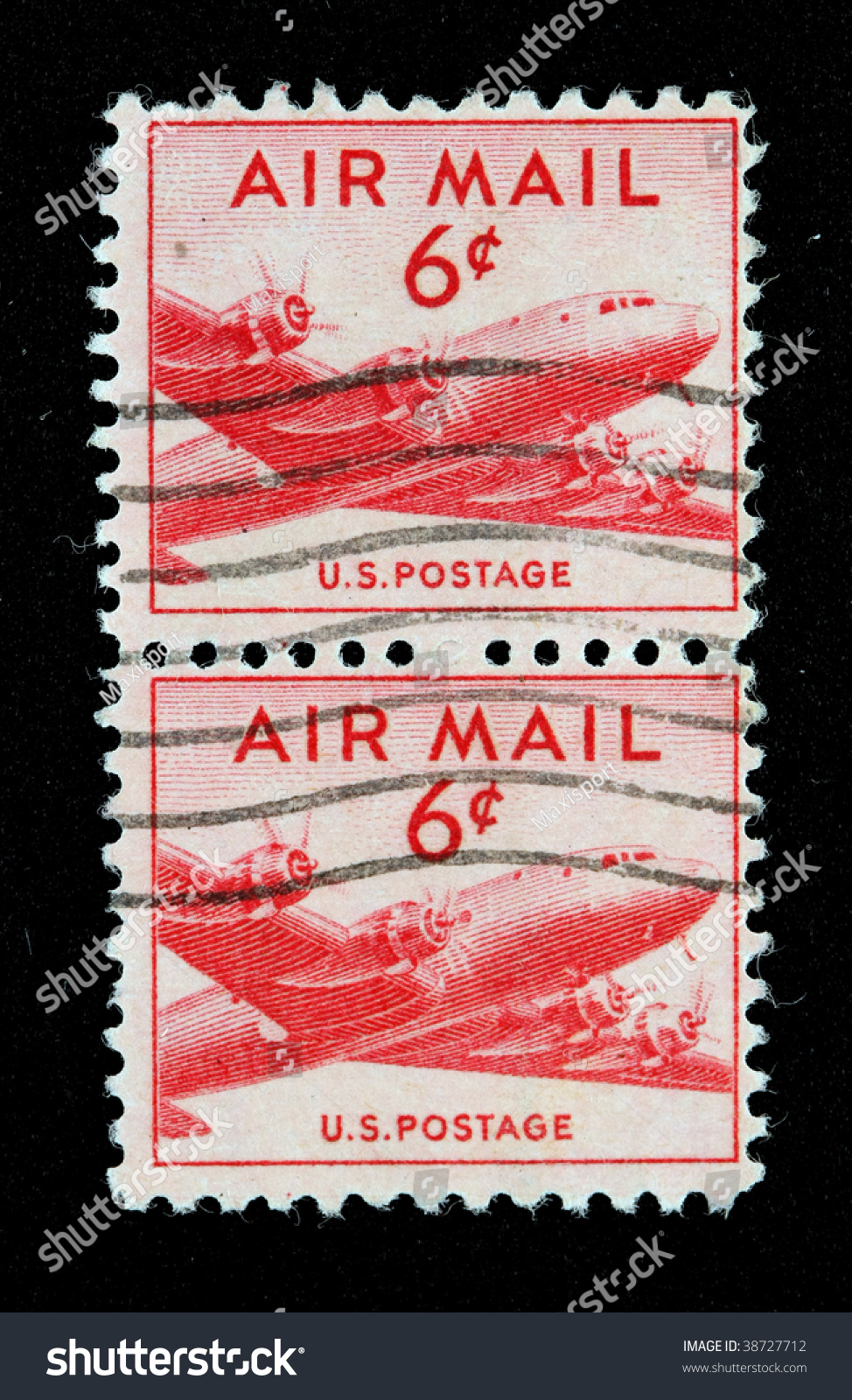 Two Vintage Us Air Mail Stamp With Airplane Six Cents