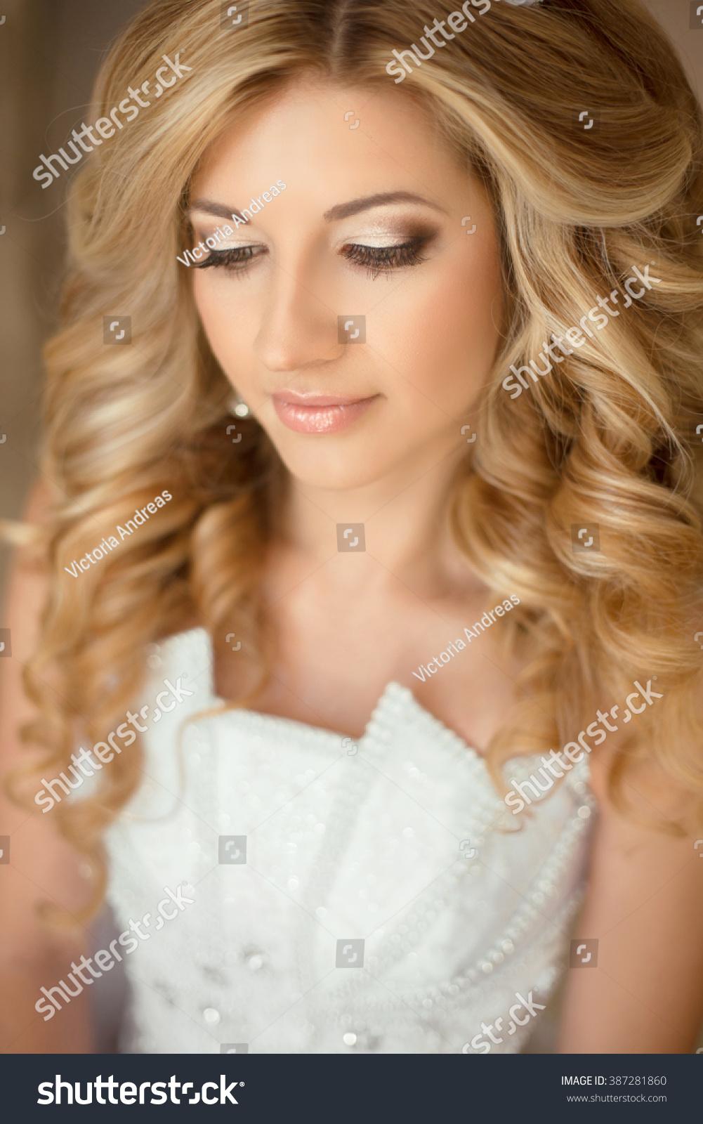 Bride Eye Makeup Wedding Hairstyle Beautiful Royalty Free Stock