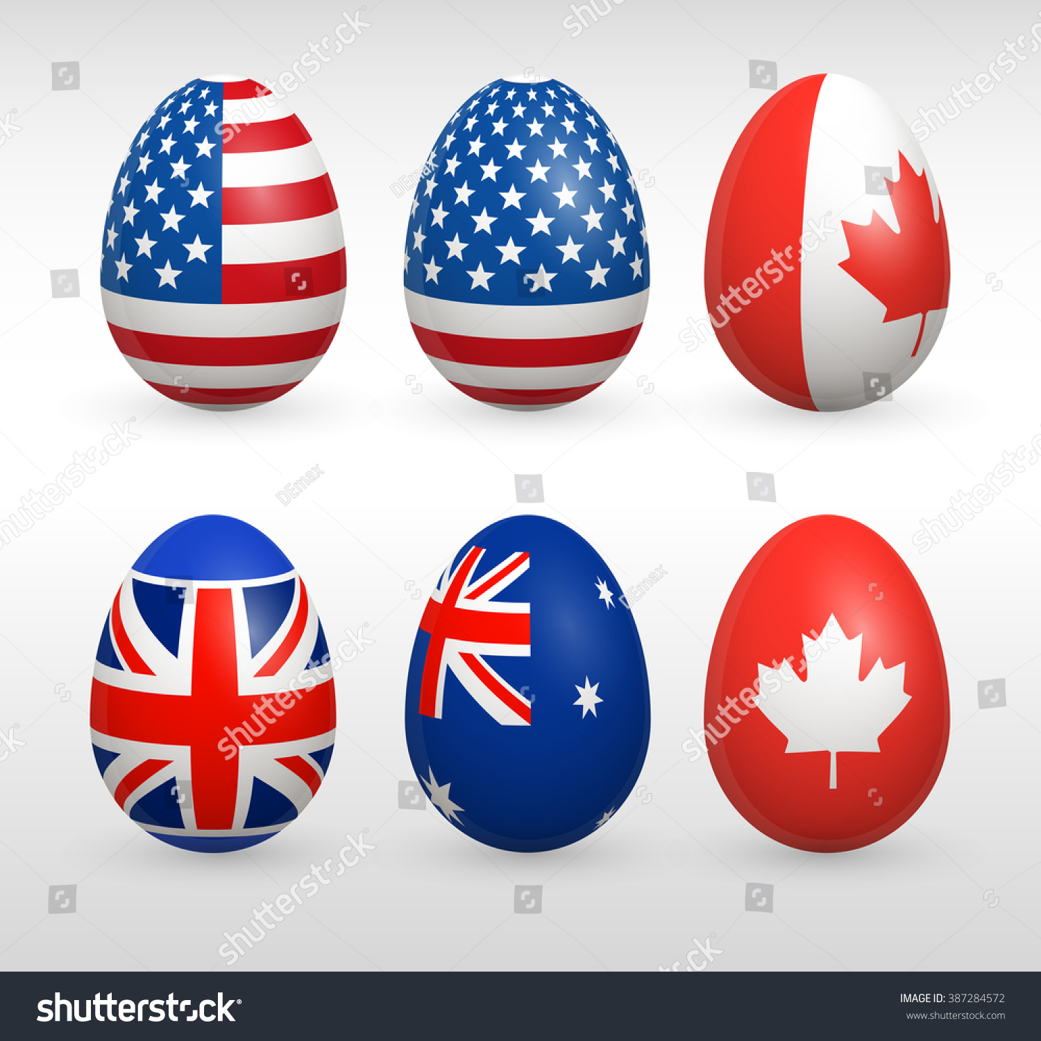 Easter Eggs Set United States Flags Stock Vector (Royalty Free