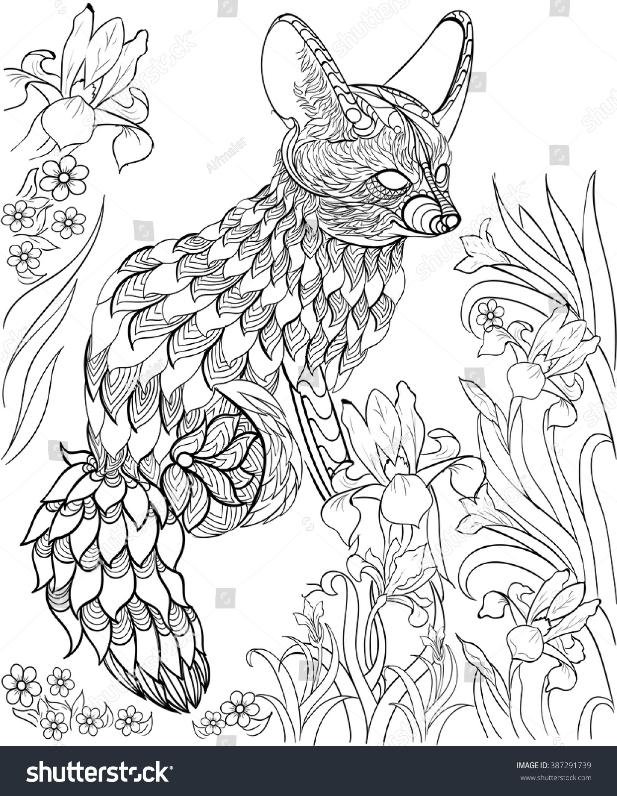 hand drawn ink pattern coloring book stock vector 387291739