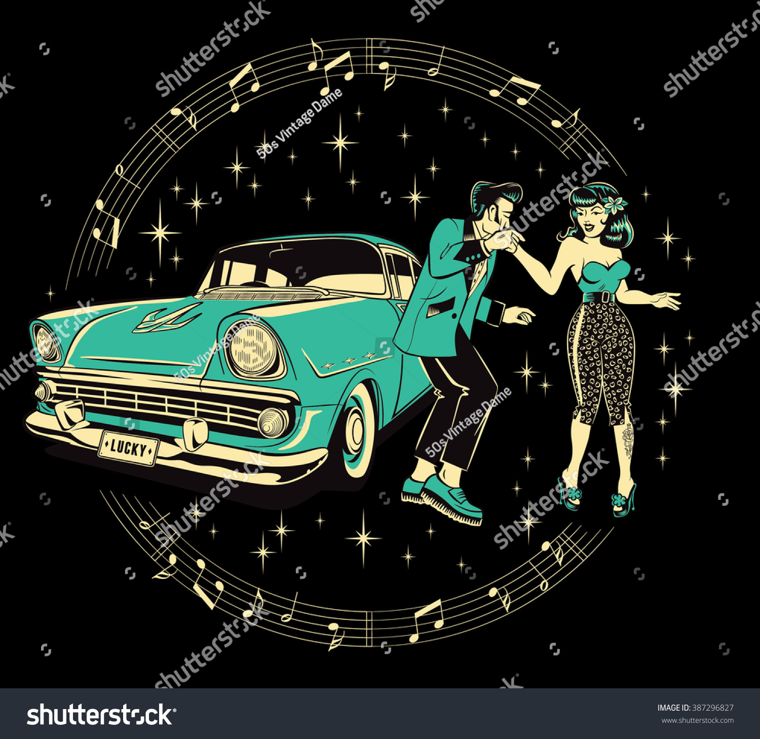 Create A Rockabilly Poster With Vector Set 22: Teddyboy Rockabilly Pinup Chick Dancing Front Stock Vector