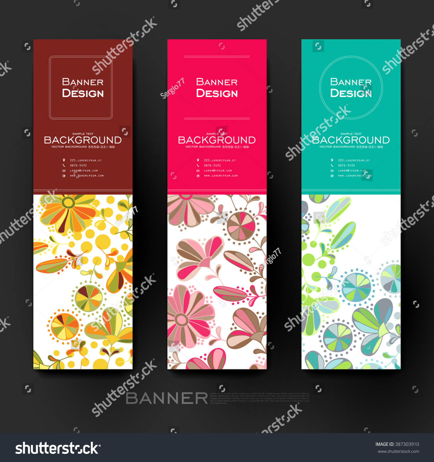 Beautiful Banner Vector Template Floral Ornament Stock Vector Royalty Free 387303910