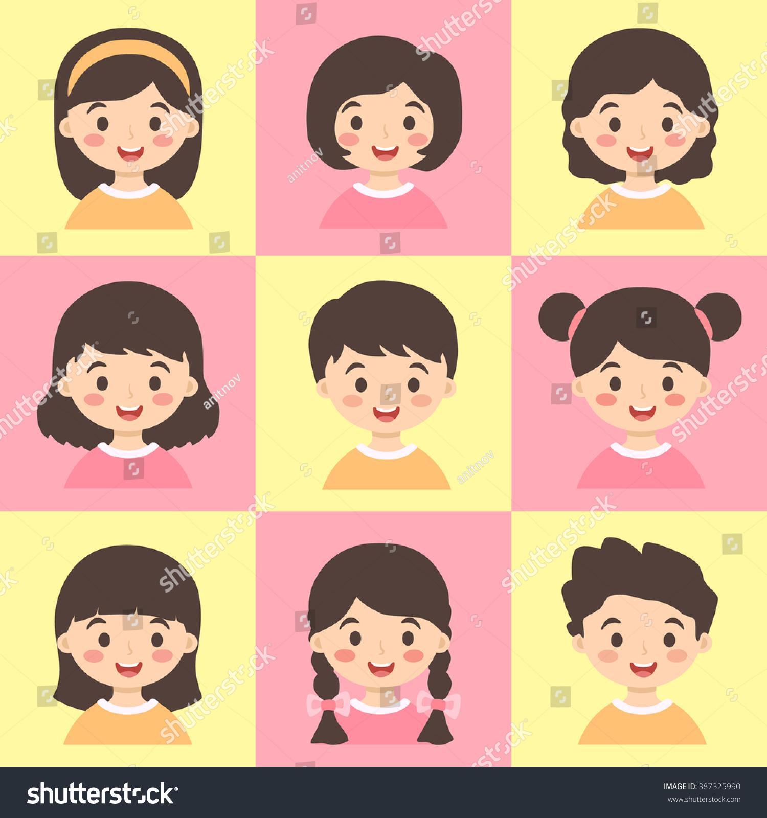 Cartoon Characters Yellow Hair : Set kids yellow pink vector illustration stock