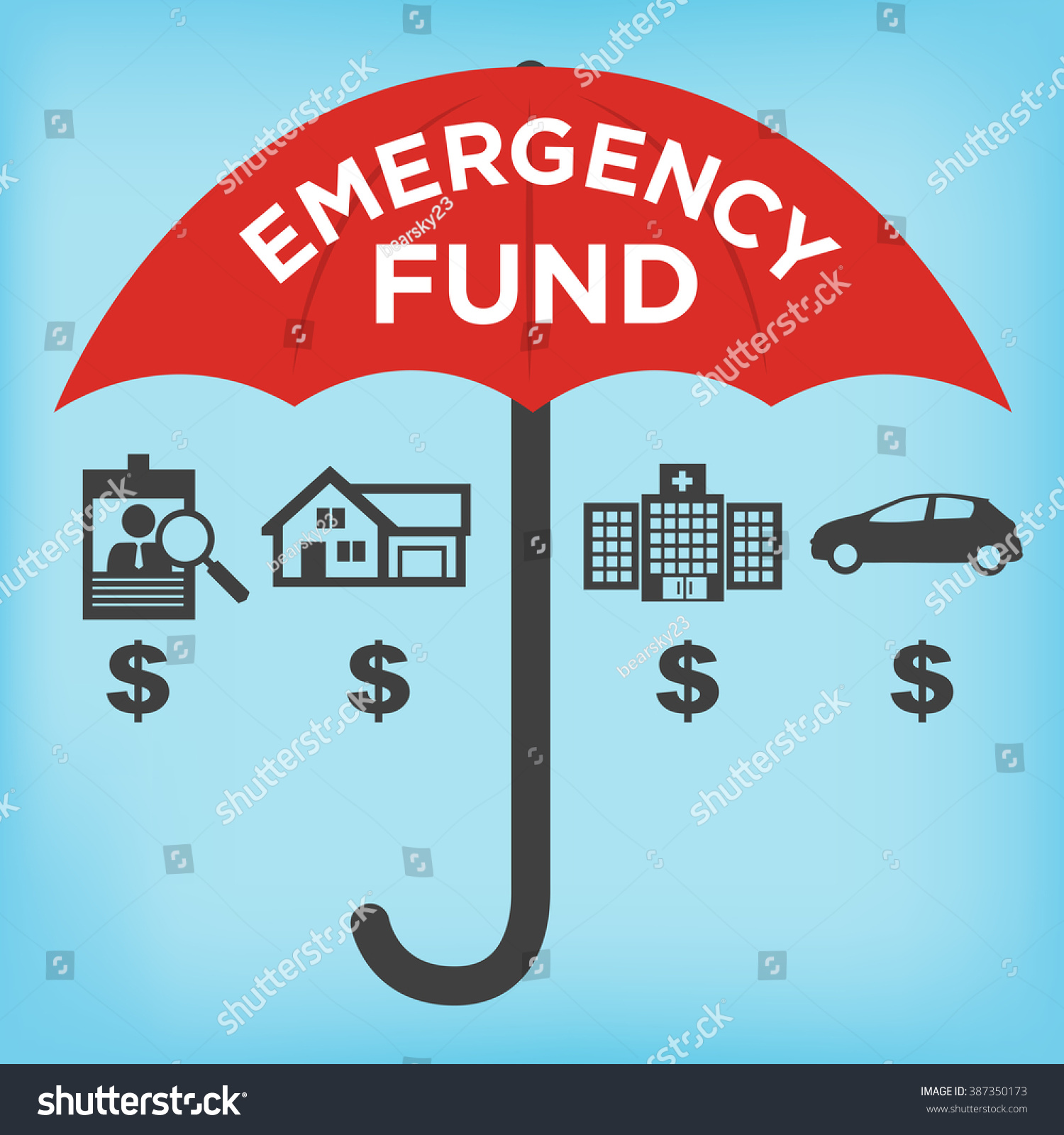 Financial Emergency Fund Icons with Umbrella - Home or House, Car or ...