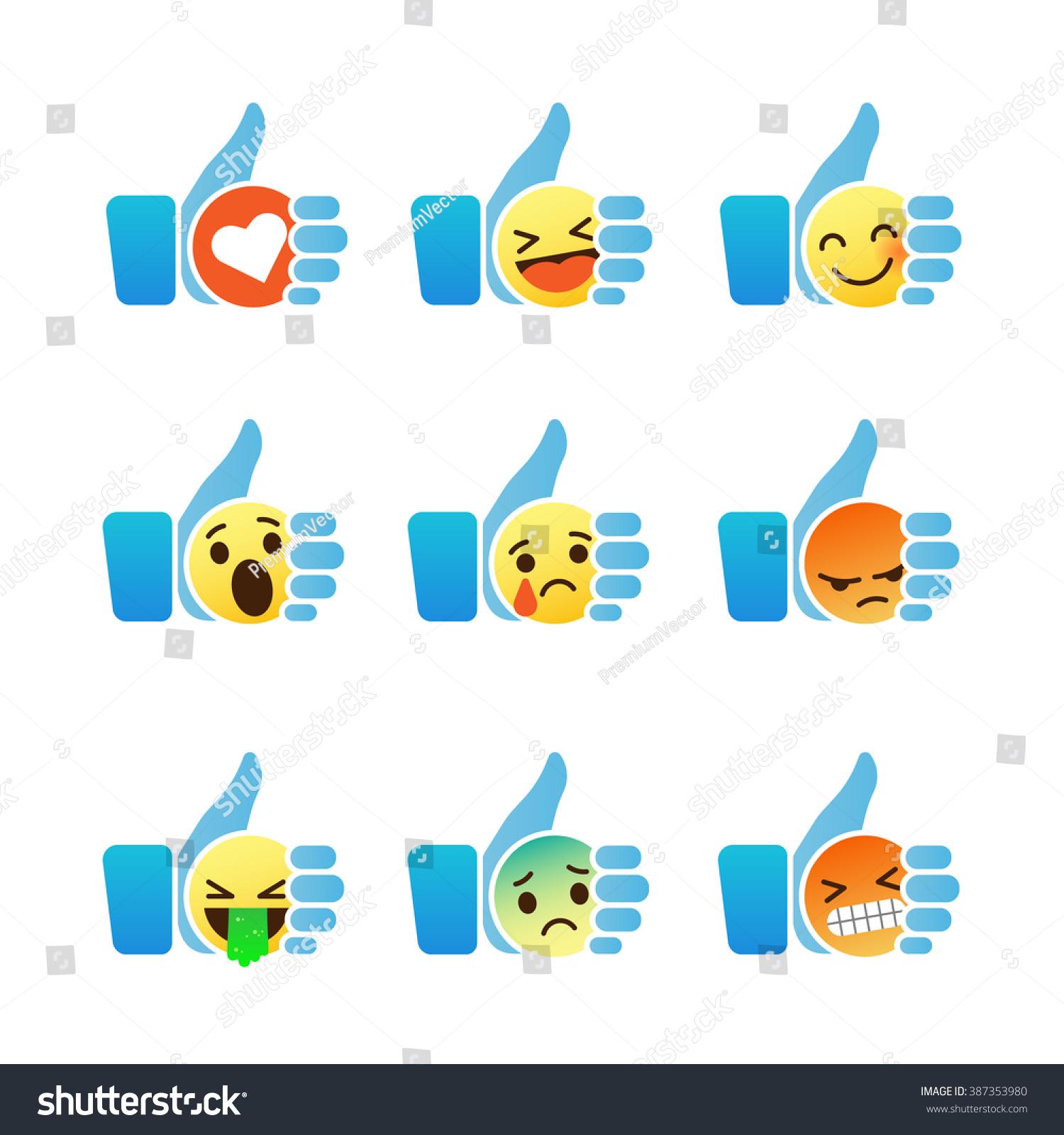Set Emoticons Thumb Symbol Emoji Stock Photo Photo Vector