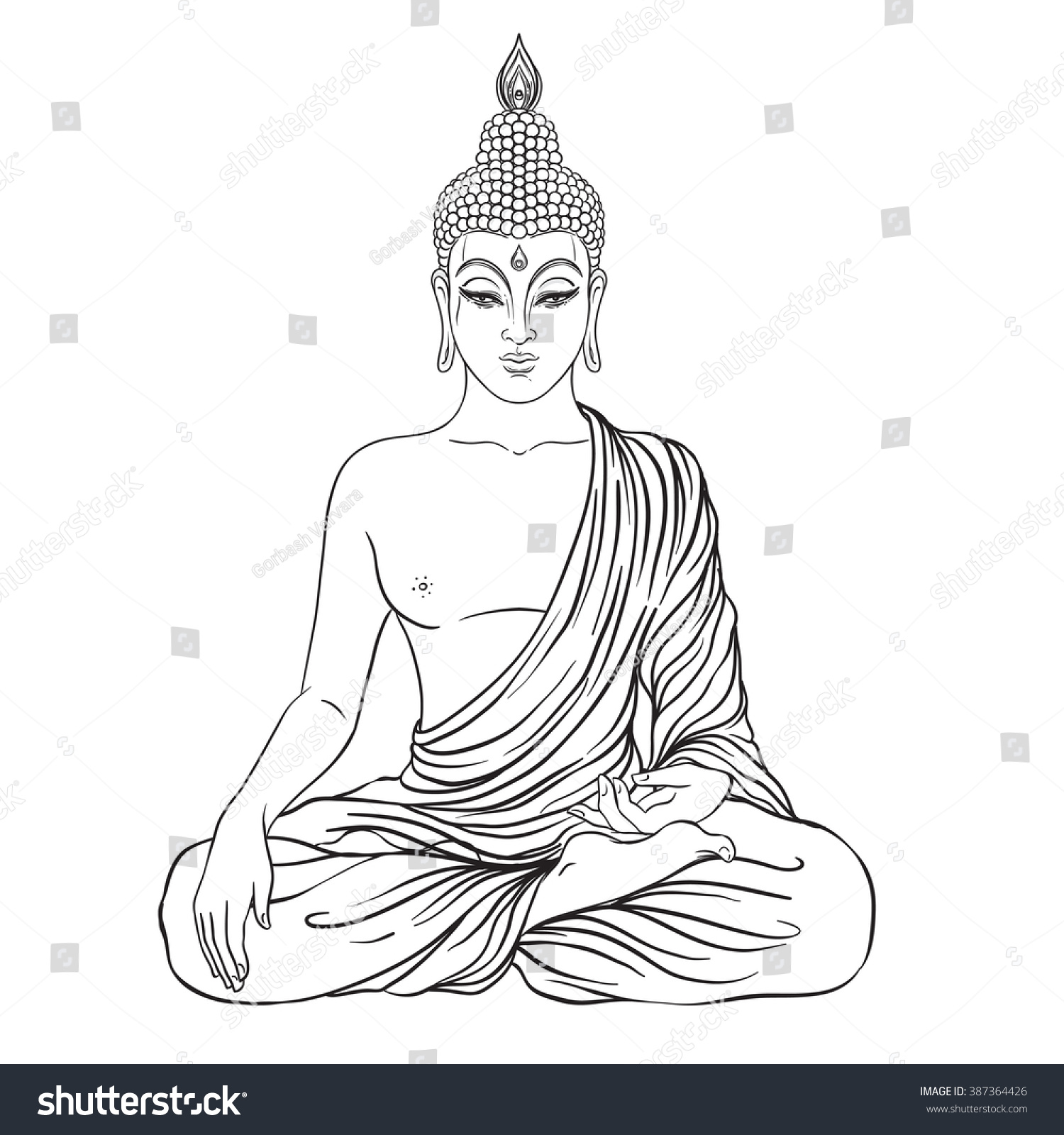 Sitting buddha isolated on white esoteric stock vector for Buddha coloring pages