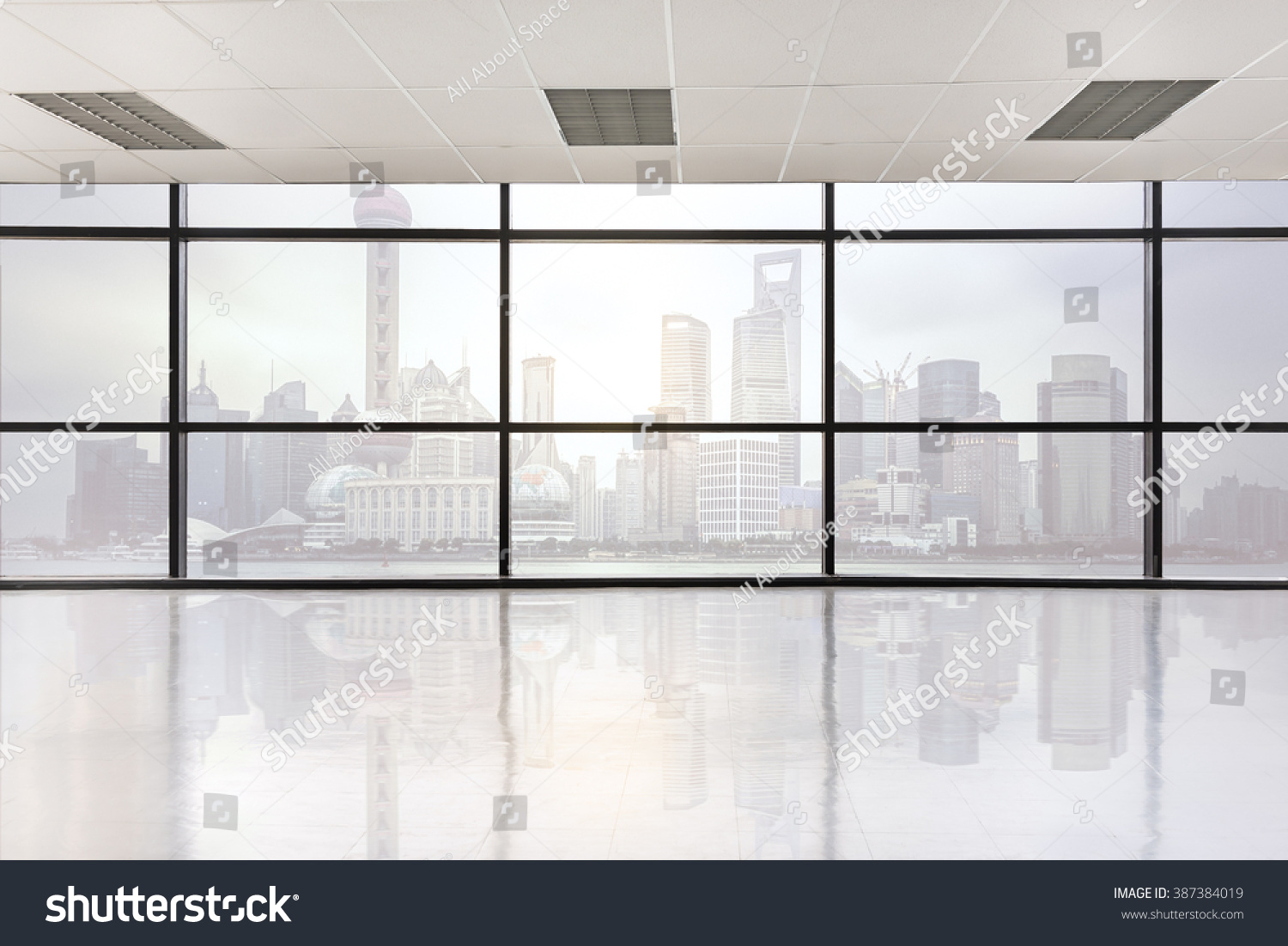 large office space. Empty Office Space With Large Window, Vintage Picture Style Process C