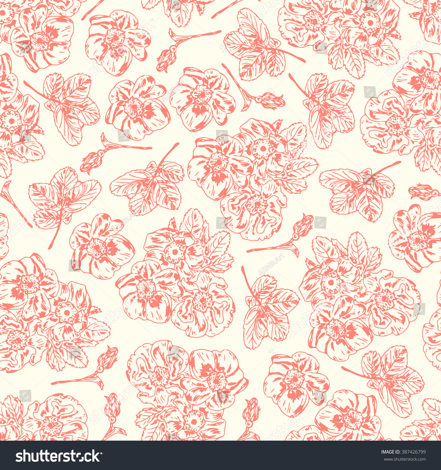 Flowers Pink Vintage Floral Background Floral Stock Vector