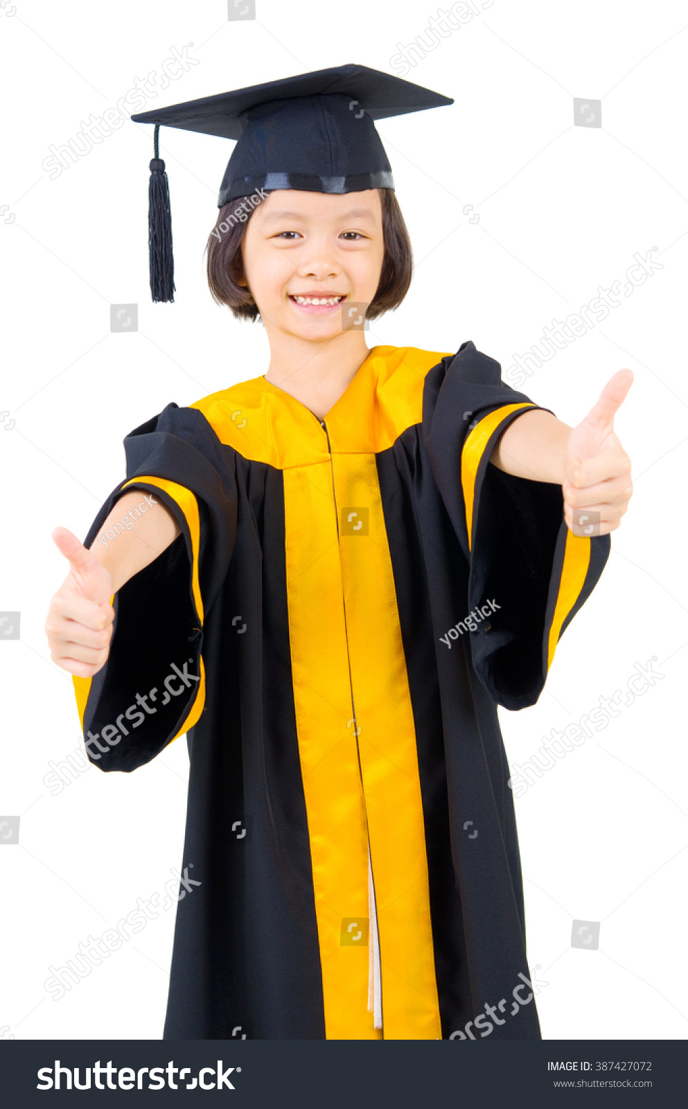 Asian Kid Graduation Gown Stock Photo (Edit Now) 387427072 ...