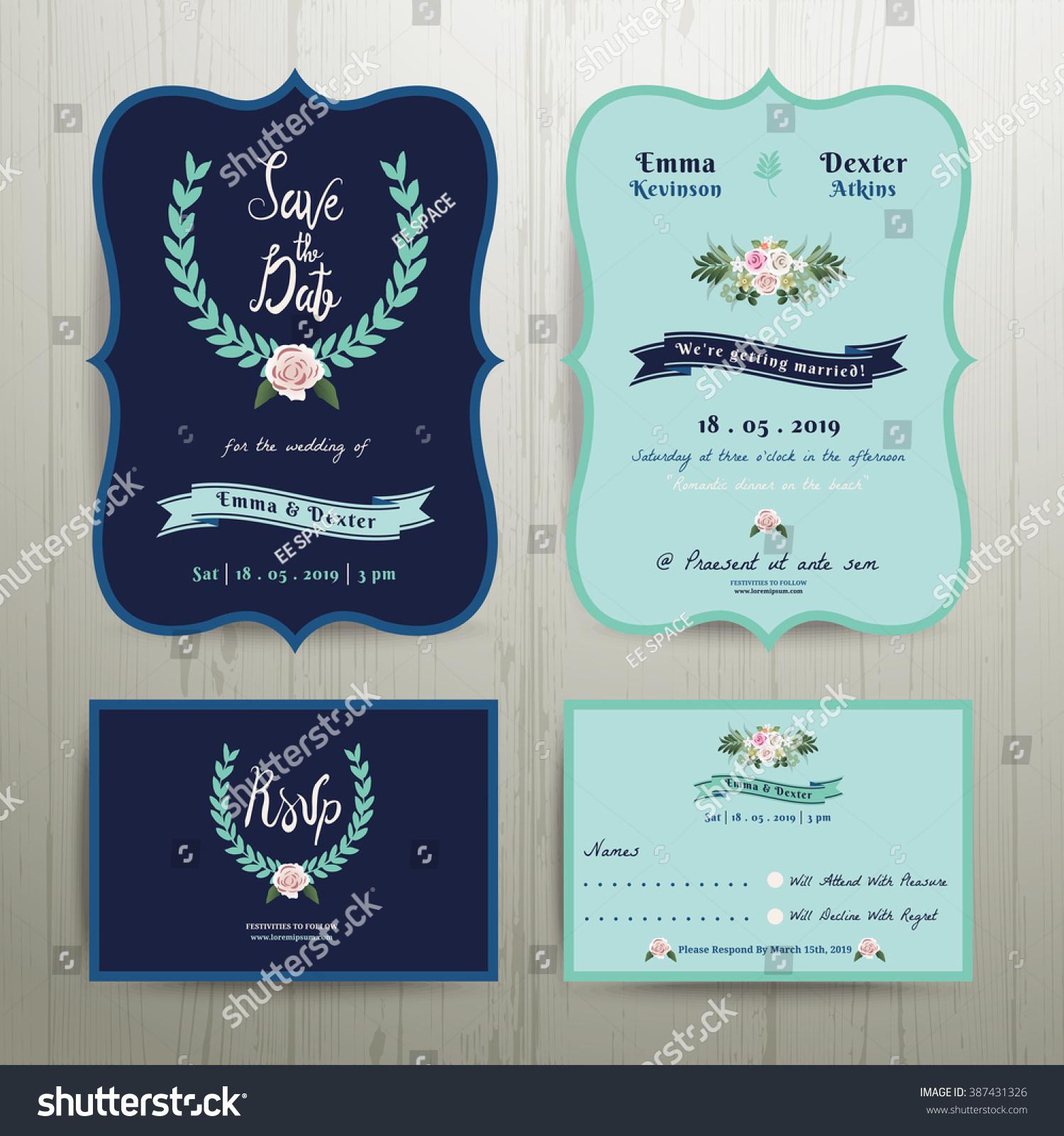 Navy Blue Wedding Invitation Card Save Vector 387431326 – Blue Wedding Invitation Cards