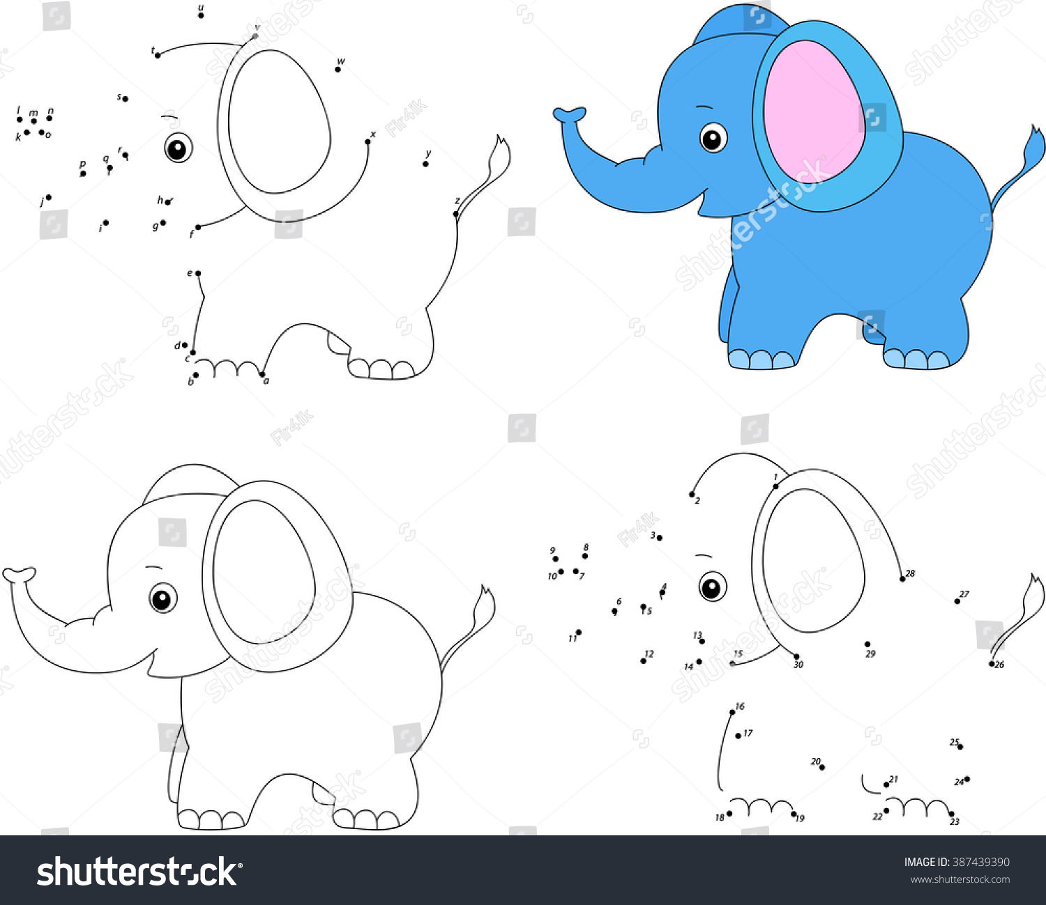 cartoon elephant coloring book and dot to dot educational game for kids - Elephant Coloring Book