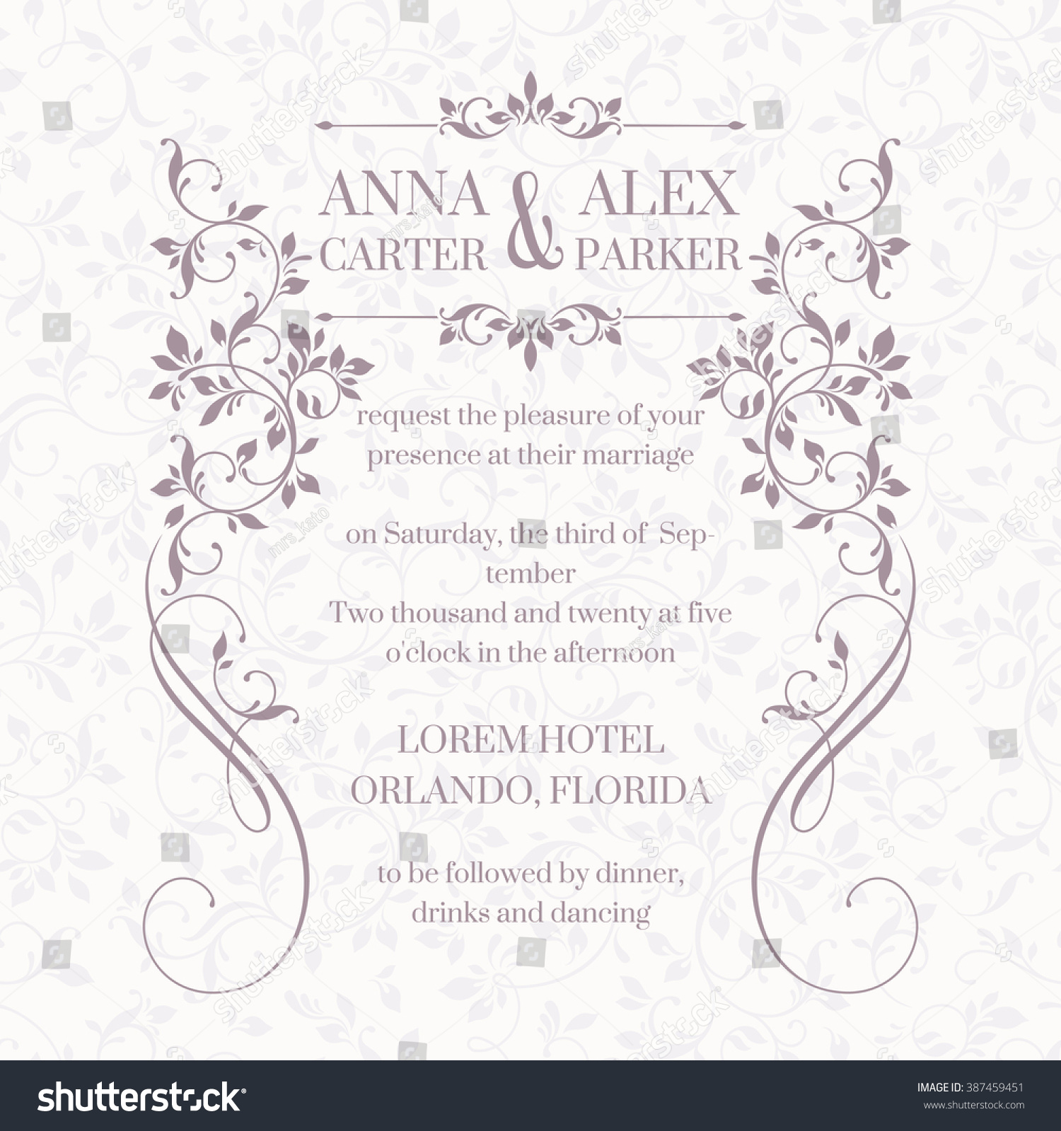 Wedding Invitation Design Classic Cards Decorative Vector – Classic Wedding Invitation Designs