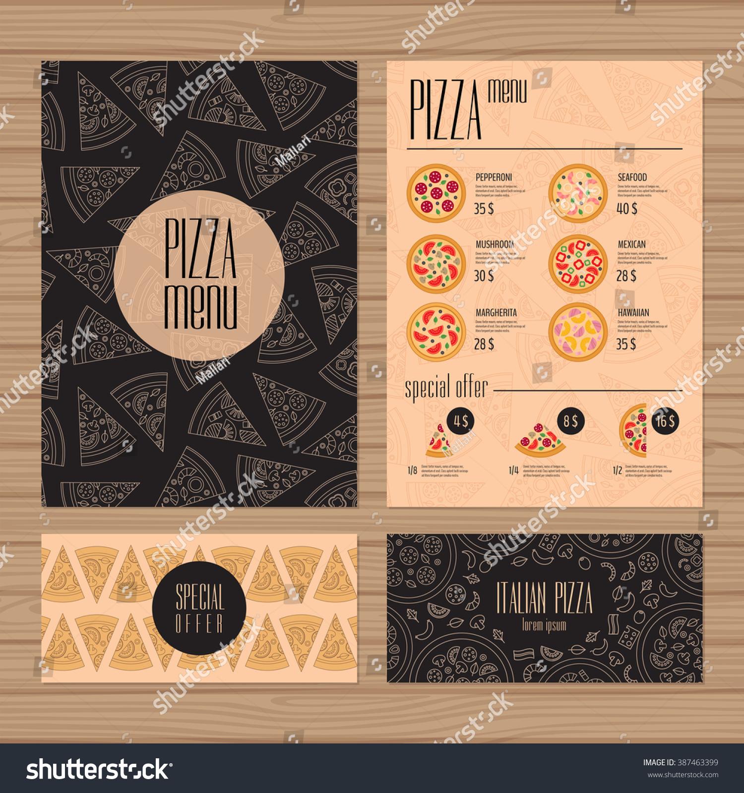 Pizza Menu Design A 4 Size Flyer Vector de stock387463399: Shutterstock