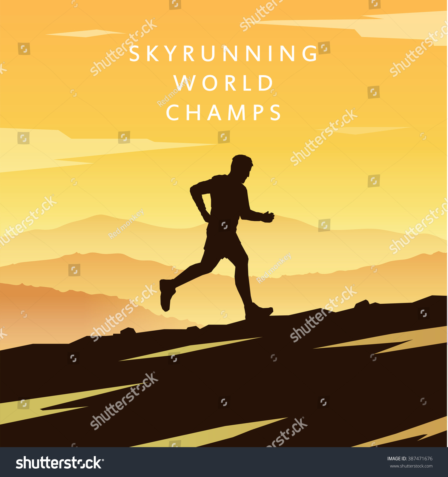 Runner silhouette Skyrunning poster Extreme sports Vector Mountain landscape Outdoor sports Hiking #1