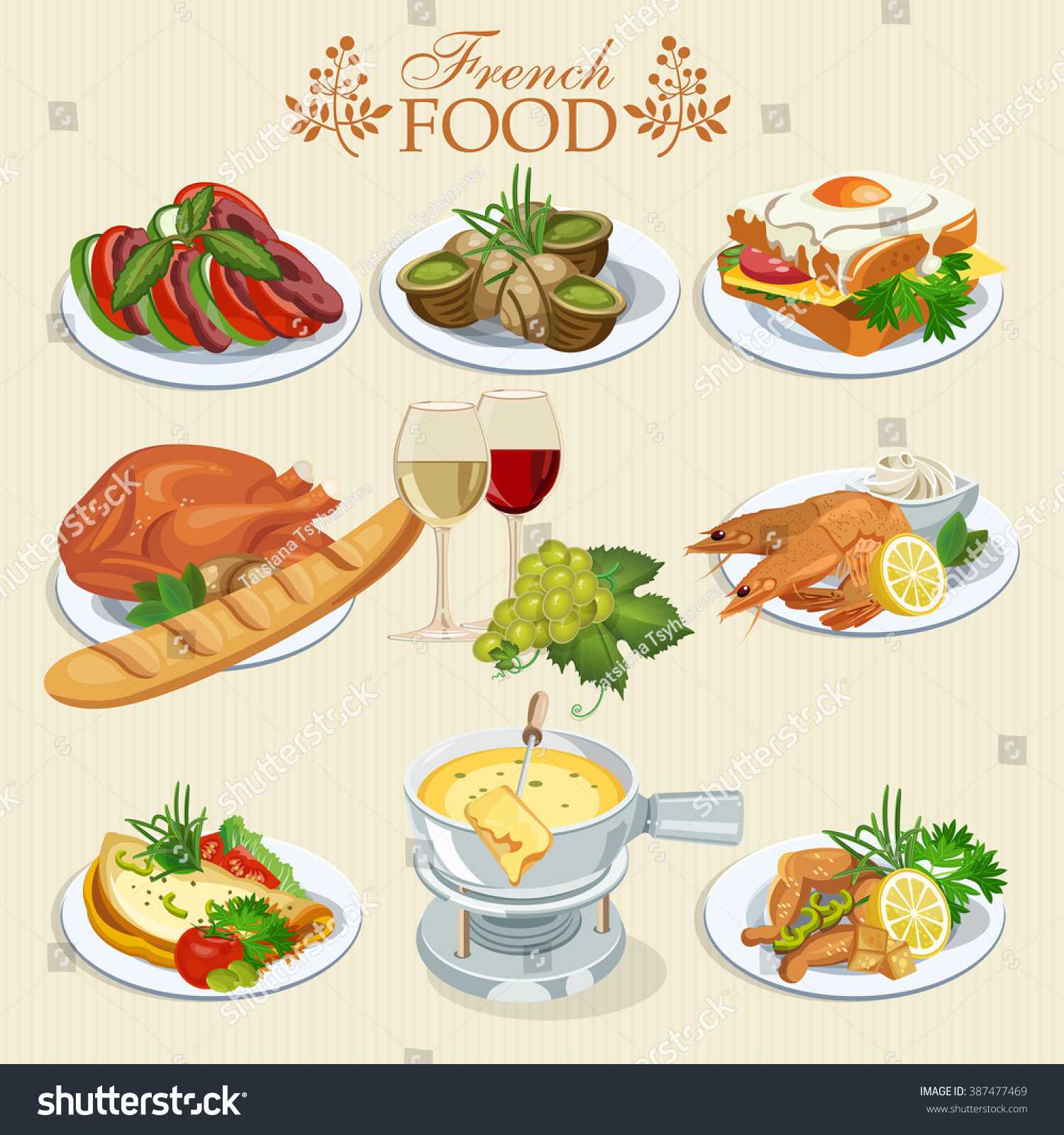 Vector set french cuisine national food stock vector - Cuisine made in france ...