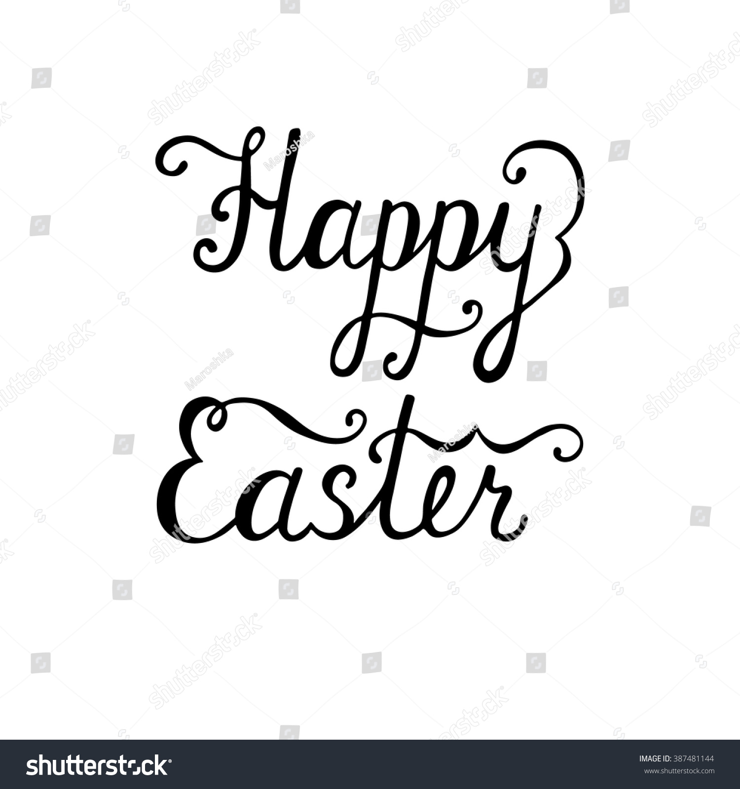 Happy easter typographic background calligraphic