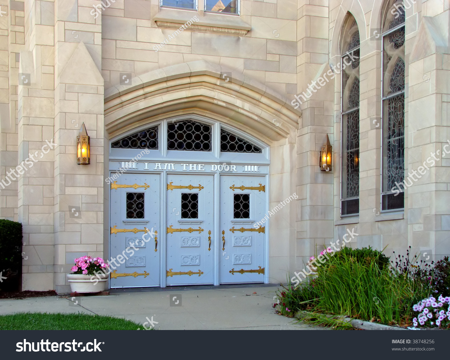 church doors with lighted front entrance  I am the ... & Church Doors Lighted Front Entrance I Stock Photo 38748256 ... pezcame.com