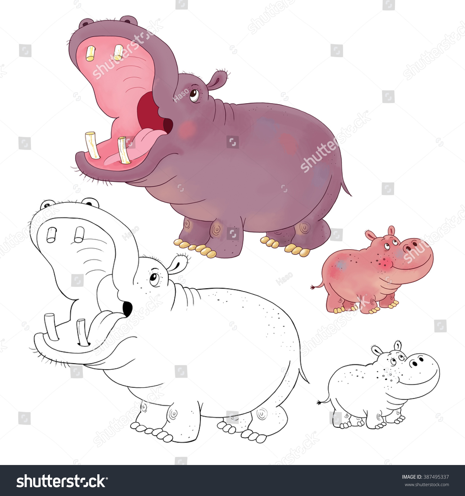 Zoo African Animals Cute Mother Hippo Stock Illustration
