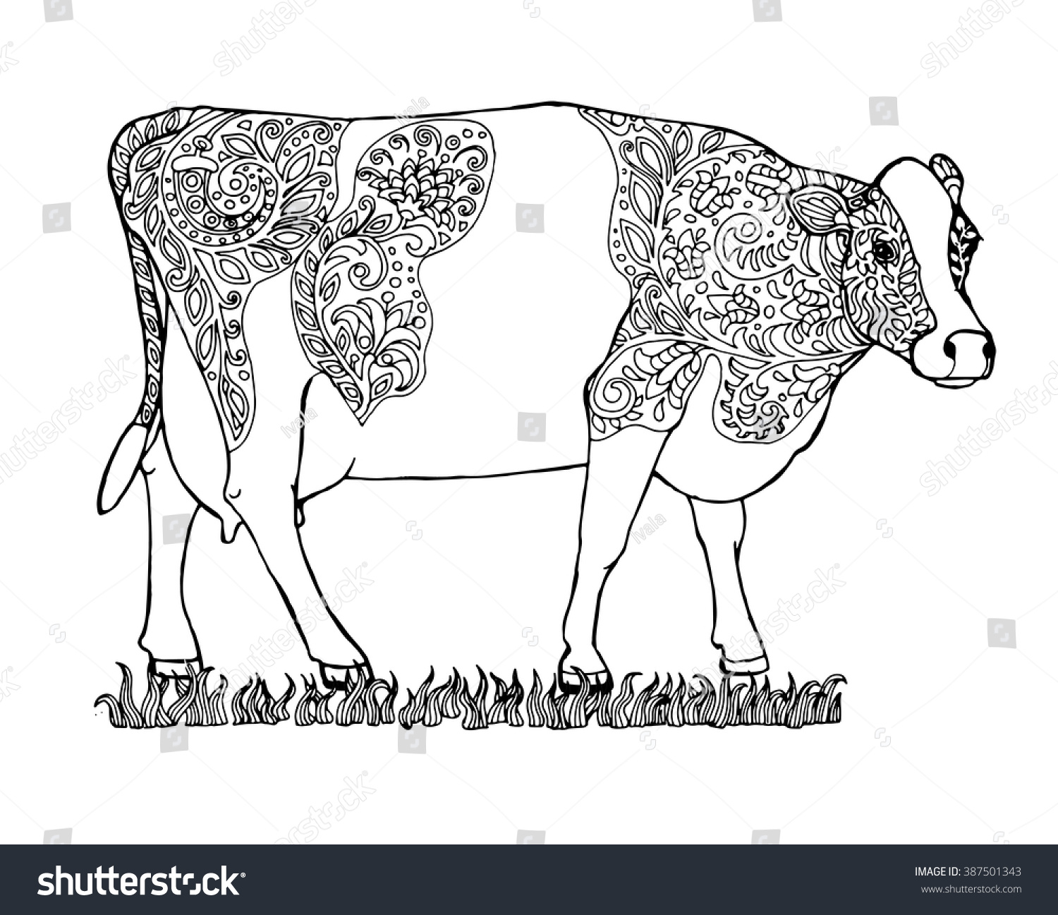 Zen colouring book animals - Brindled Milk Cow On A Meadow Animal Page For Adult Colouring Book Zentangle Vector