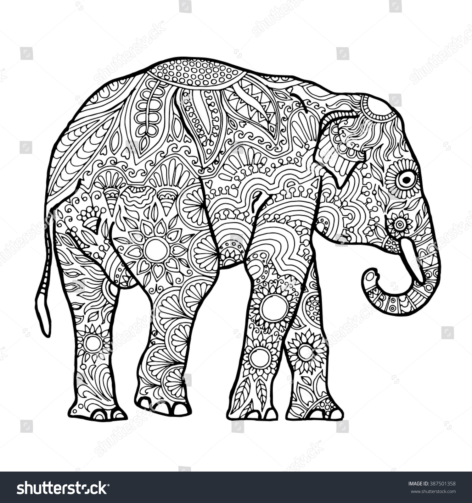 Zen colouring book animals - Asian Elephant Zentangle Animal Page For Adult Colouring Book Vector Design