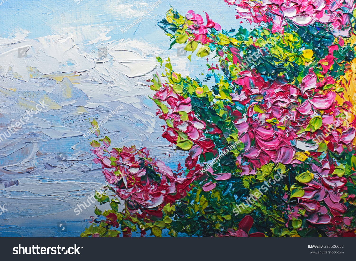 Texture Oil Painting Flowers Art Painted 387506662