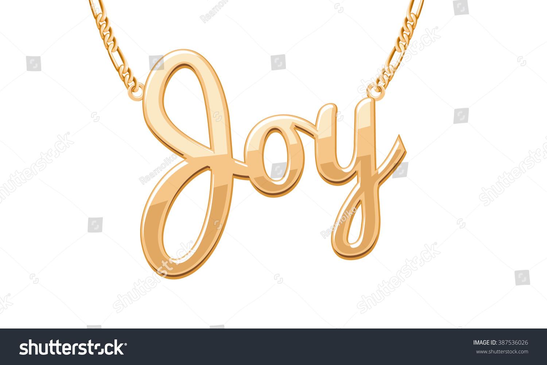 Golden joy word pendant on chain stock vector royalty free golden joy word pendant on chain necklace jewelry design aloadofball Gallery