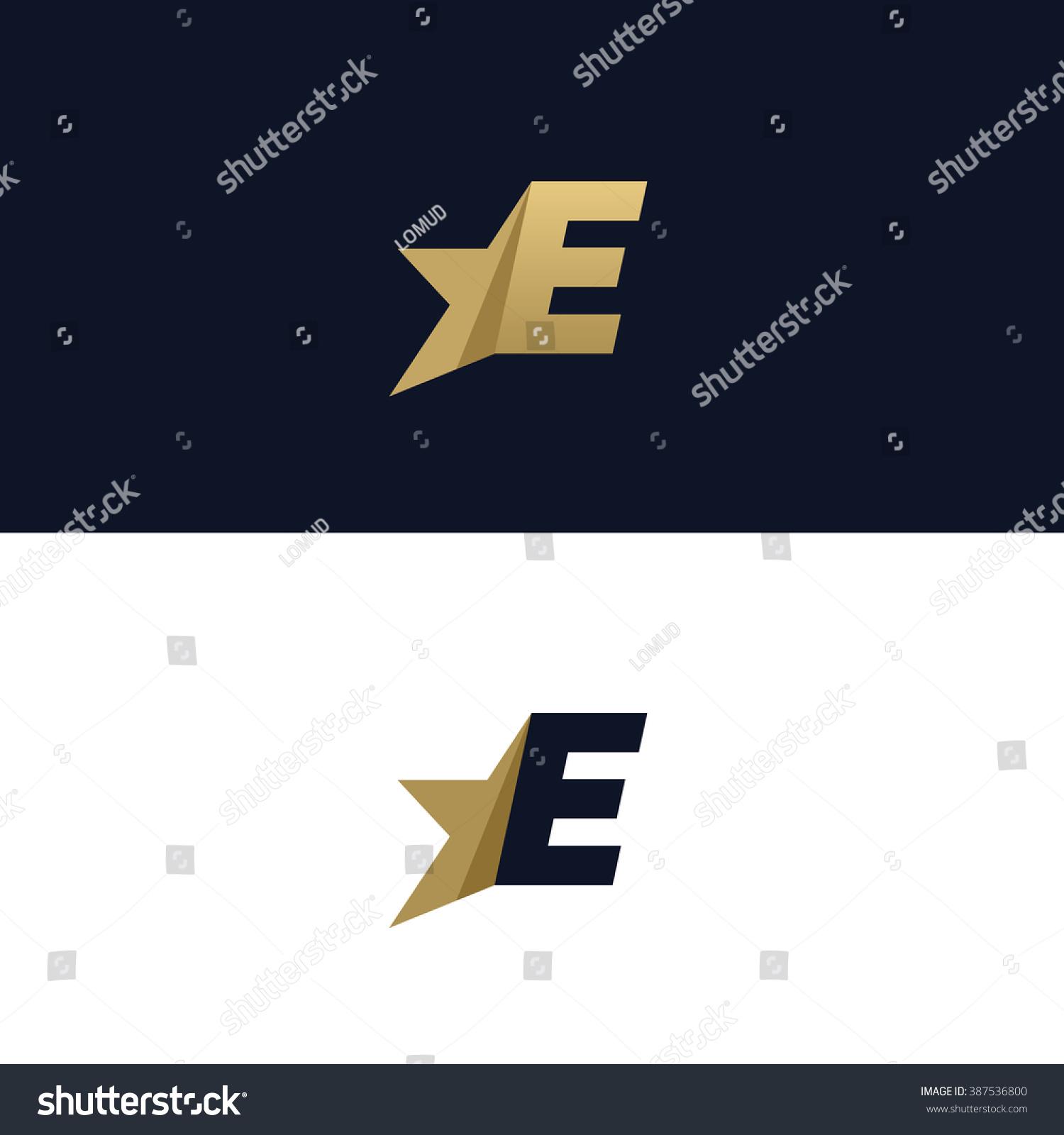 letter e logo template star design のベクター画像素材 ロイヤリティ