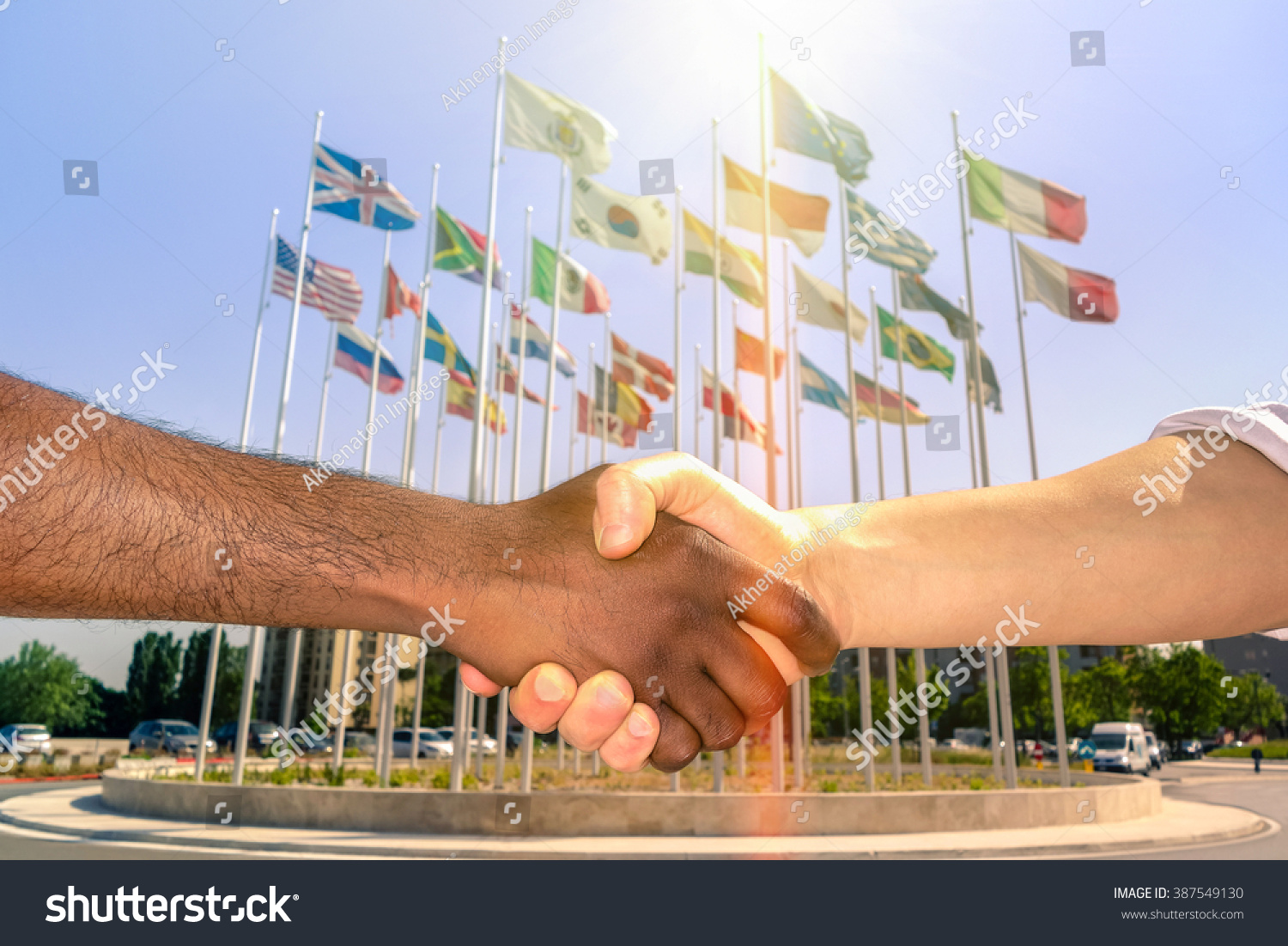 Pics photos desk with flag in background photographic print by - Multiracial Handshake With World Flags Background Black And White Men Hand Shake Team Against Racism