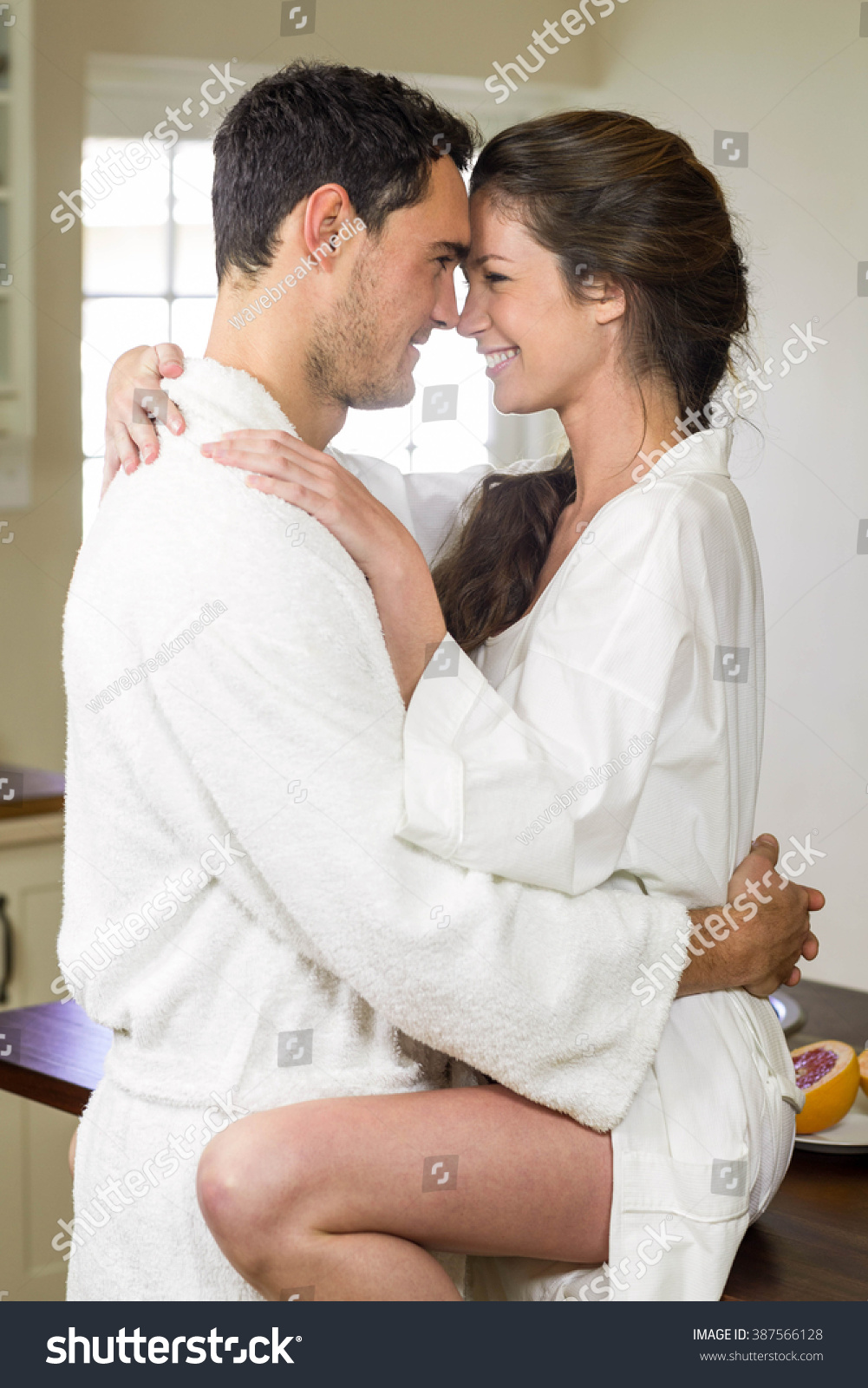 Romantic Young Couple Bathrobe Cuddling Each Stock Photo (Royalty ...