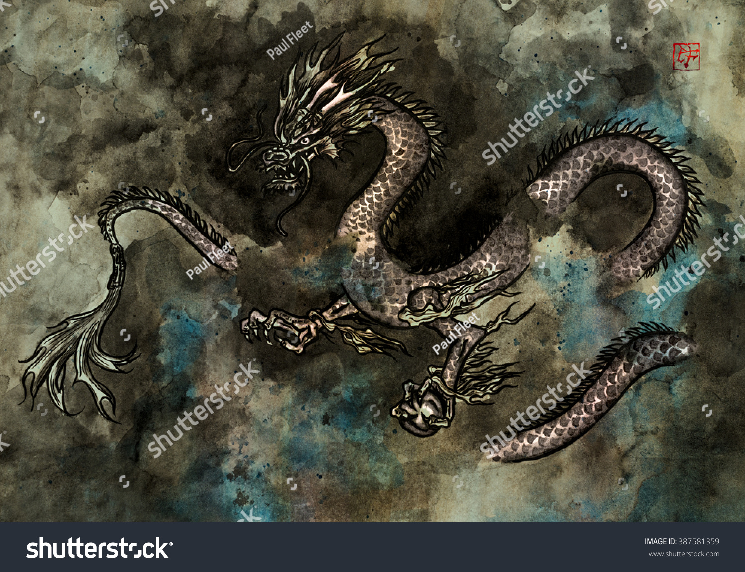 traditional ink painting fierce chinese dragon stock illustration
