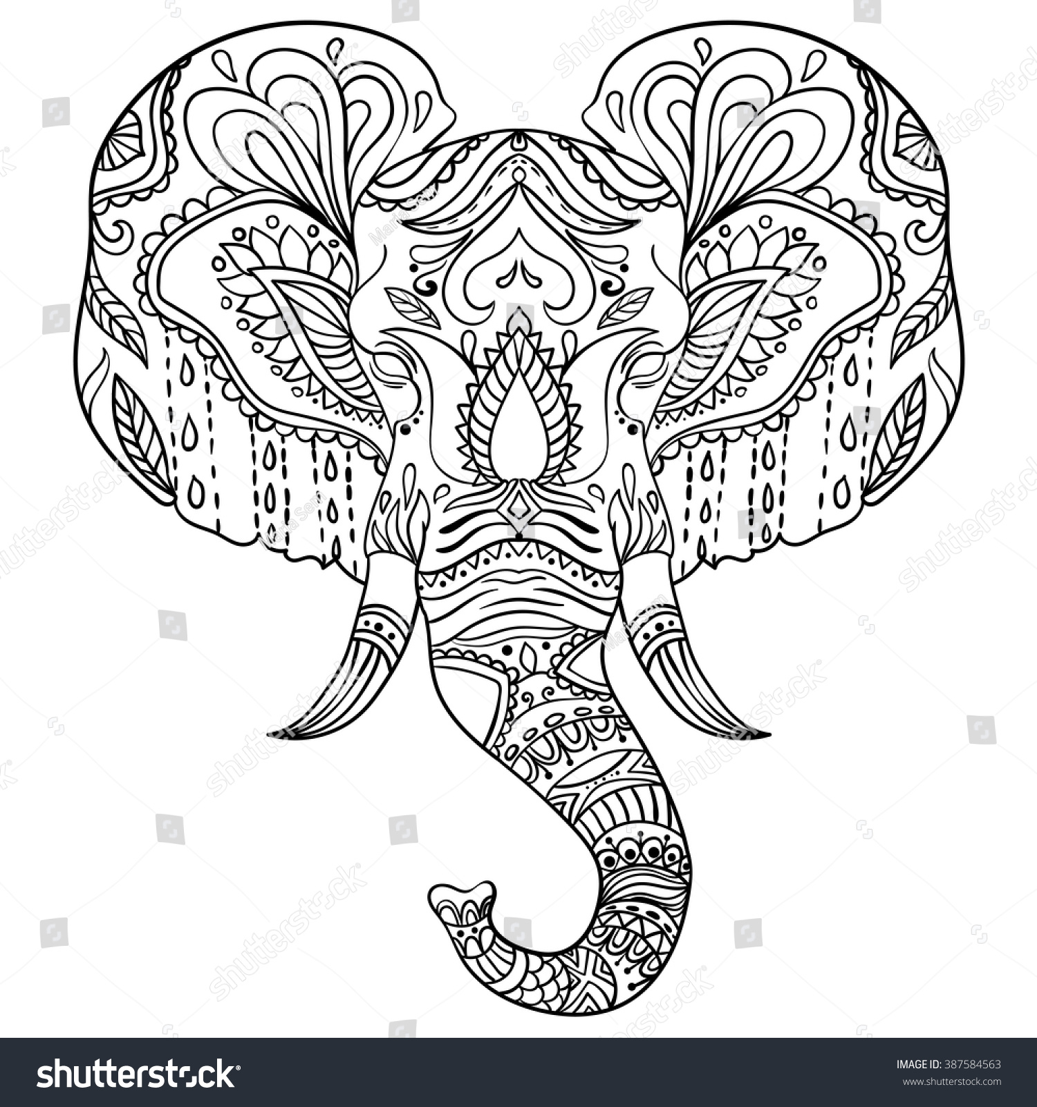 Abstract Elephant Ornate Isolated Vector Illustration ...