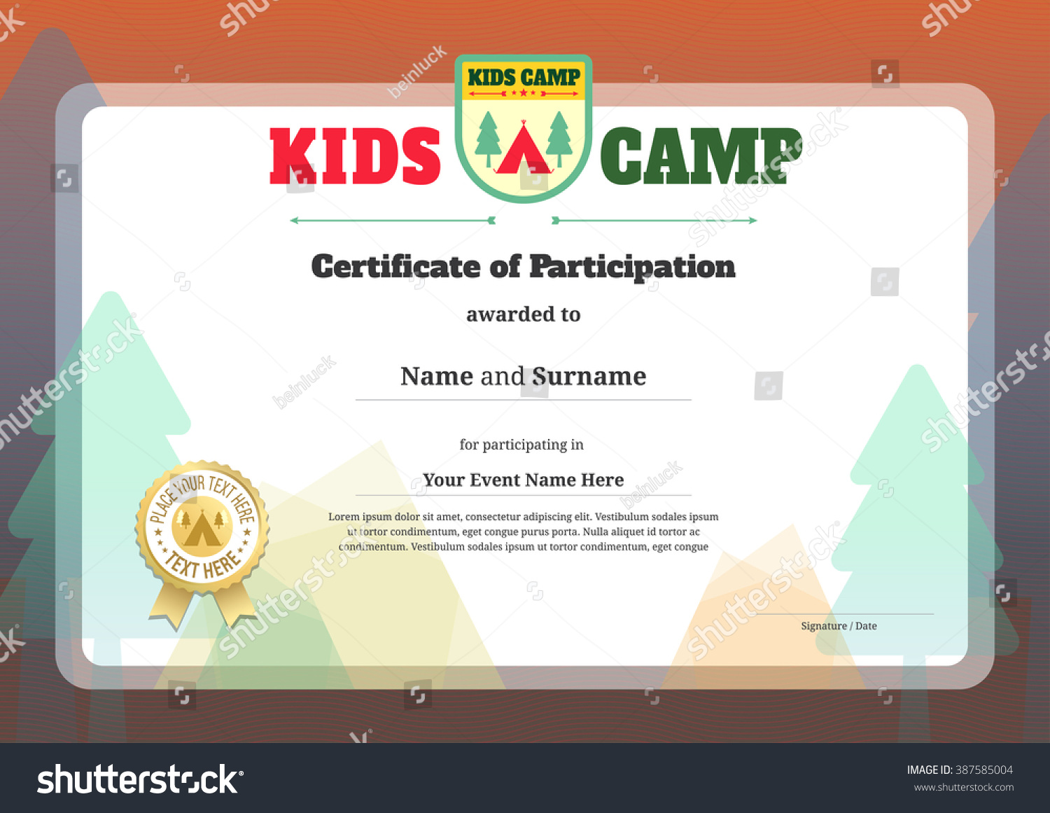 Colorful Modern Kids Certificate Template Vector Vector – Kids Certificate Templates