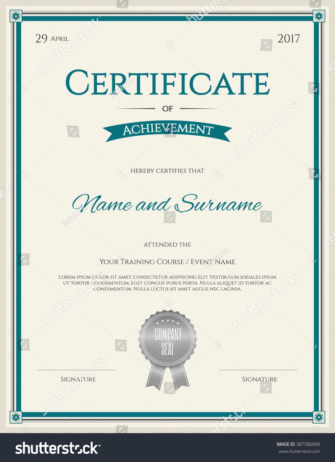Certificate Of Achievement Template In Portrait ...