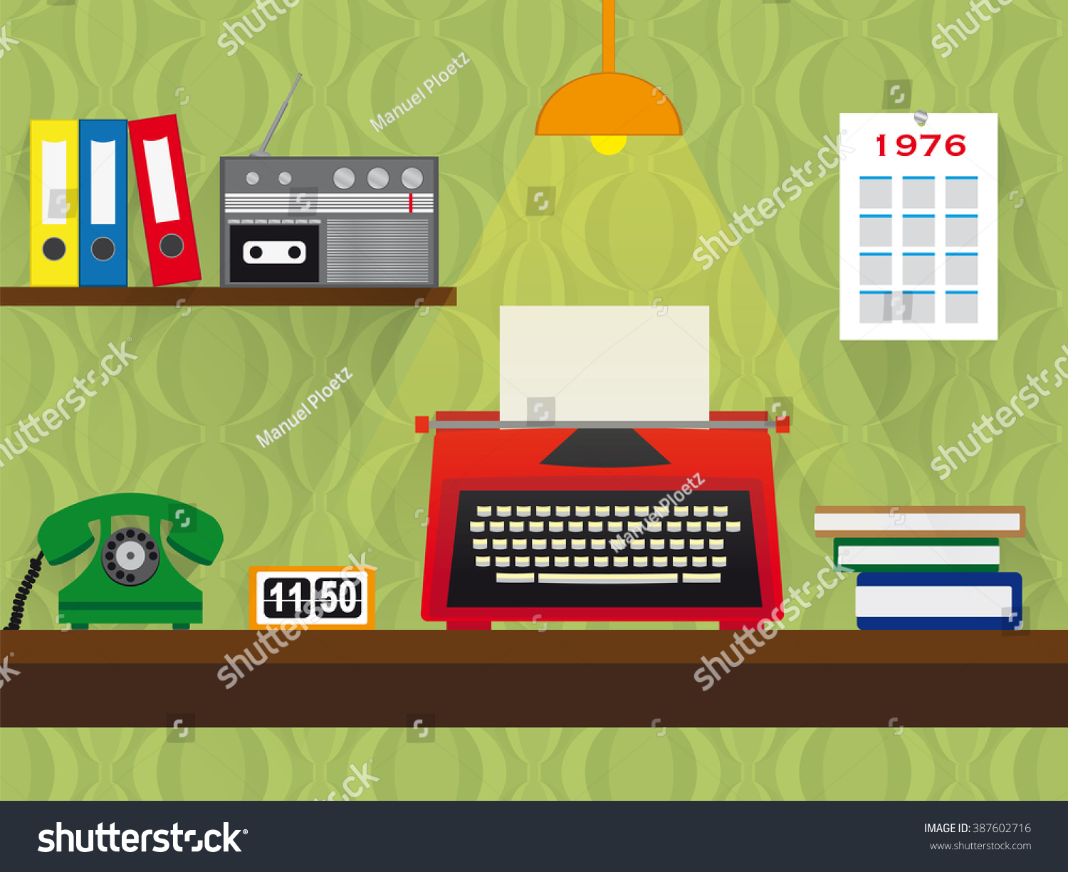 Seventies Retro Work Place Red Typewriter Stock Vector 387602716