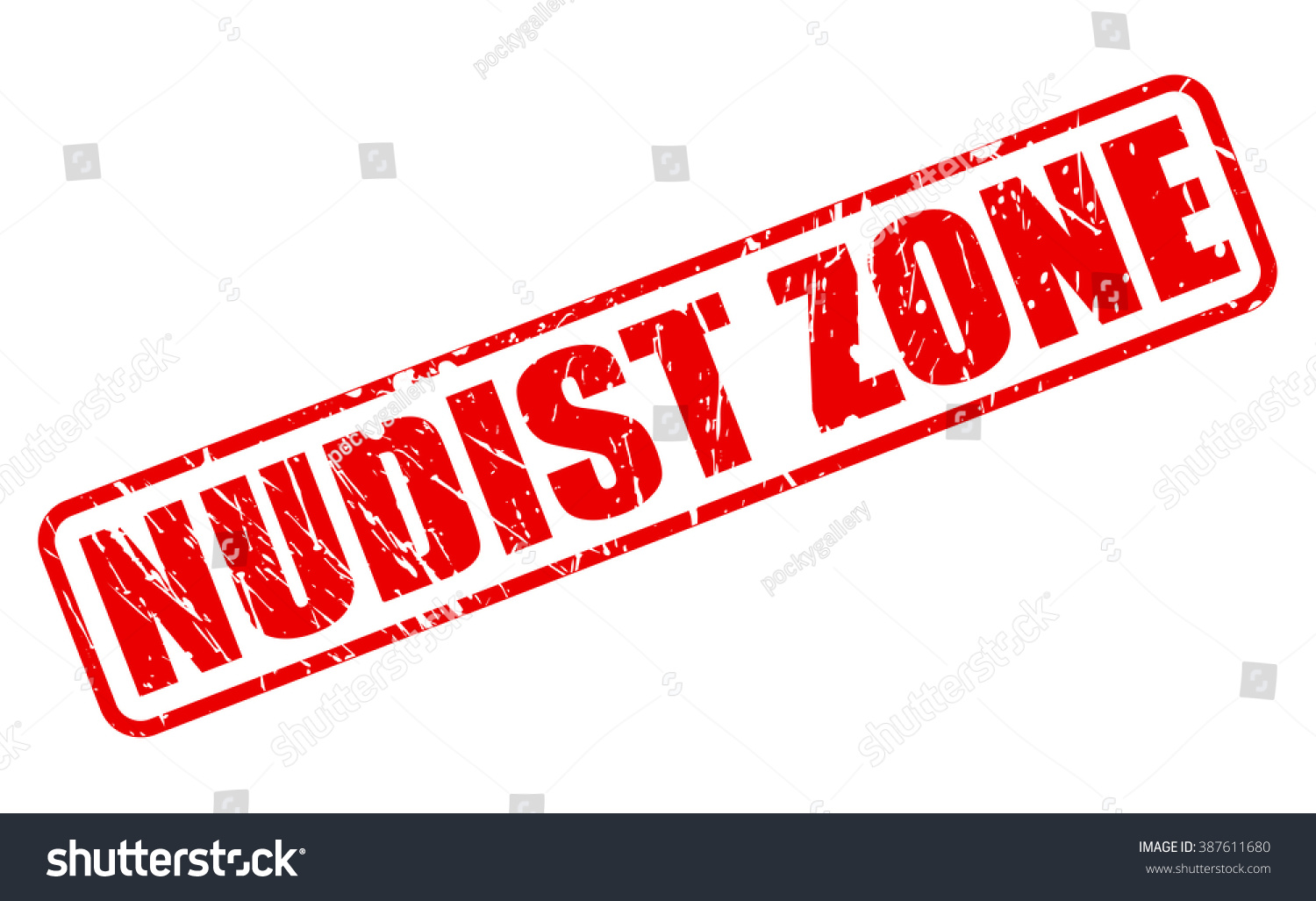 Nudist Zone NUDIST ZONE RED STAMP TEXT ON WHITE