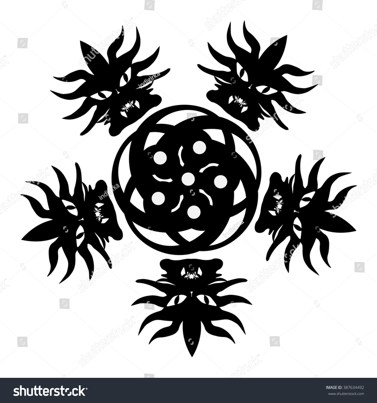 monster tribal tattootshirt design halloween icon stock vektor 387634492 shutterstock. Black Bedroom Furniture Sets. Home Design Ideas