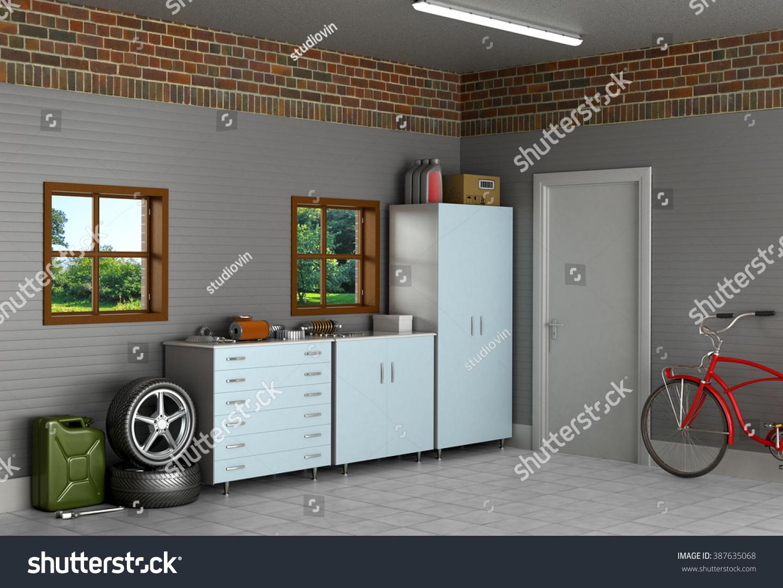 Interior Suburban Garage Car Parts Stock Illustration Royalty Free