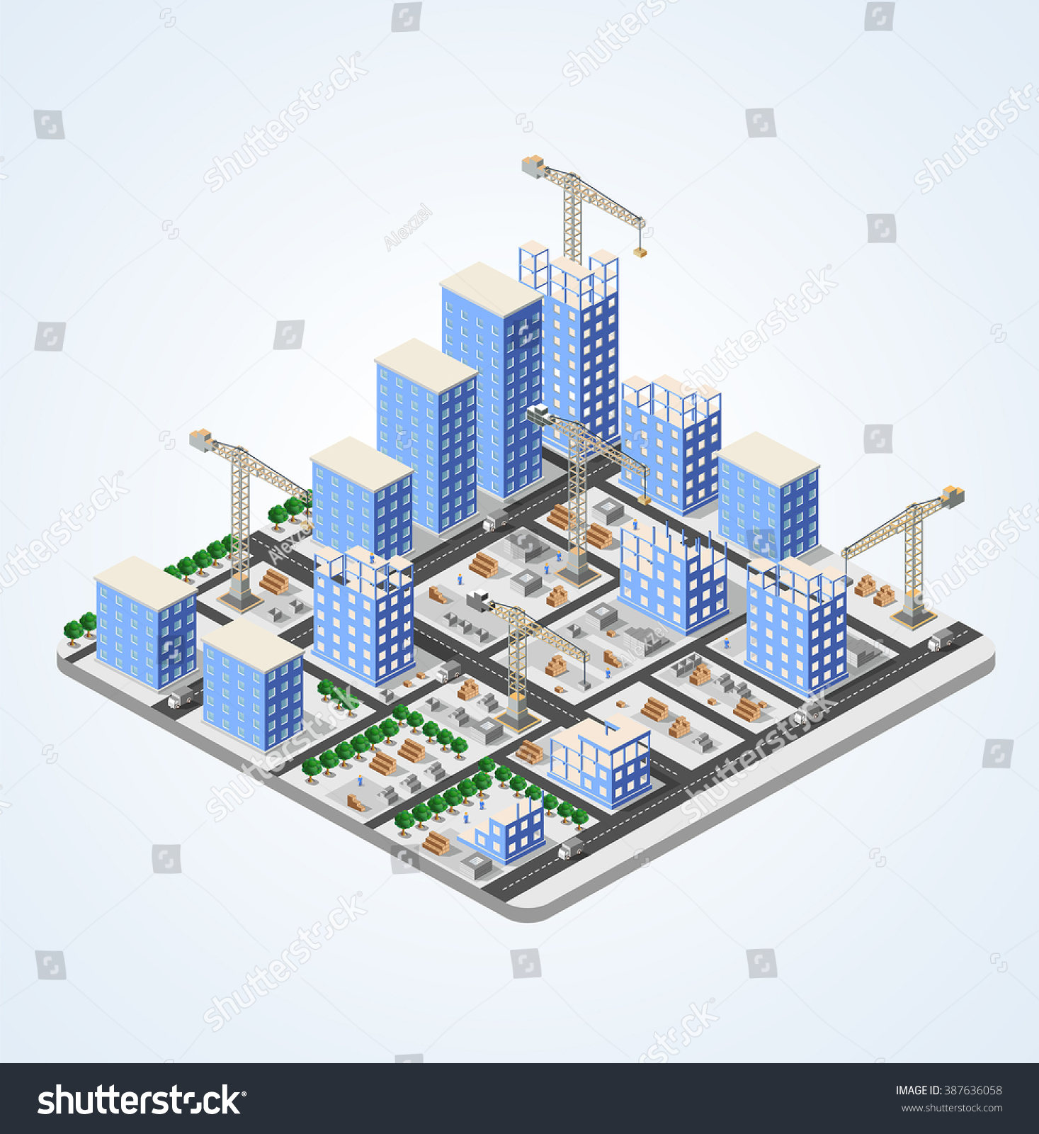 Urban industrial isometric 3d architectural flat stock for 3d plan drawing