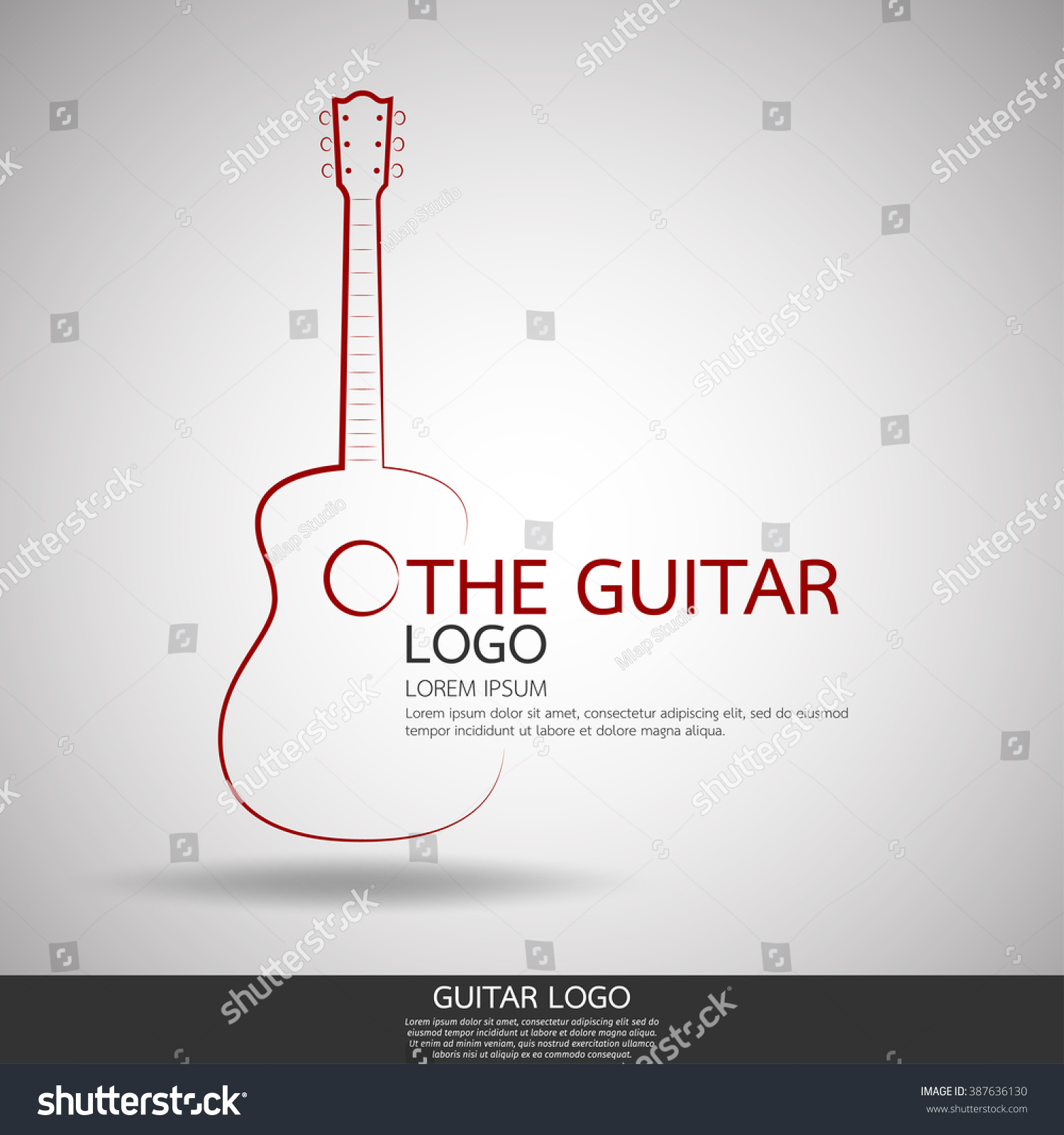 acoustic guitar logo vector templateabstract line stock vector