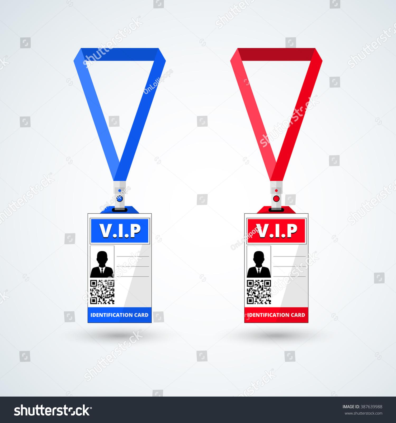 id card vip lanyard set vector stock vector 387639988 shutterstock. Black Bedroom Furniture Sets. Home Design Ideas