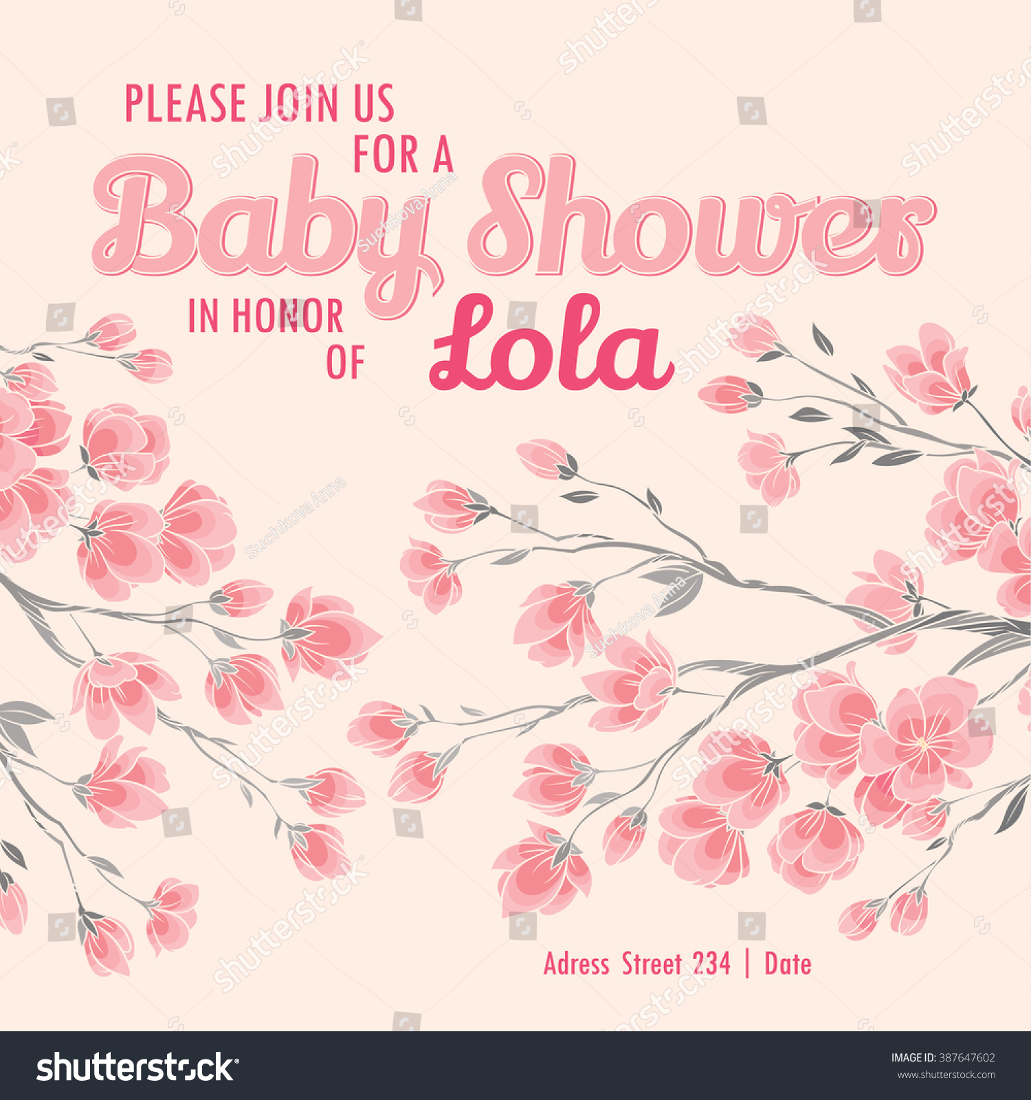 Baby Shower Invitation Card Spring Sakura Stock Vector 387647602 ...