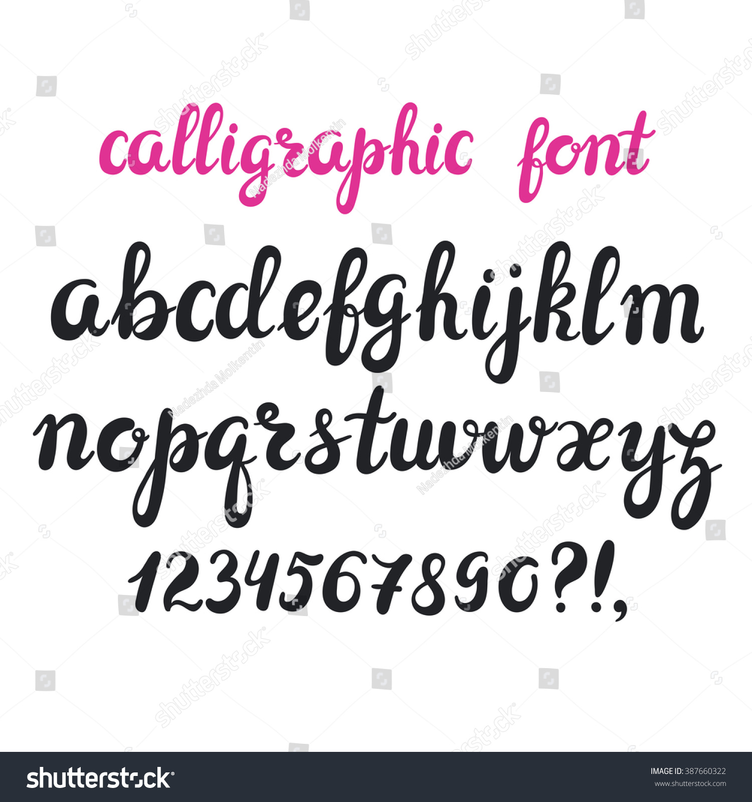 Hand drawn brush pen calligraphy cursive stock vector