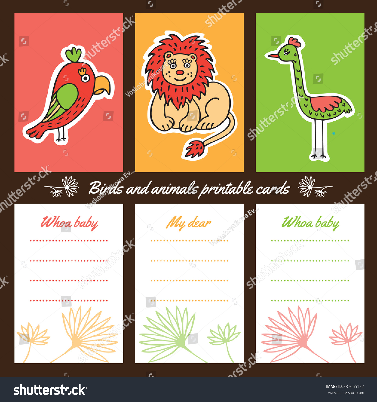 A Set Of Brightly Colored Cards To Print Animals And Birds Painted In The Style
