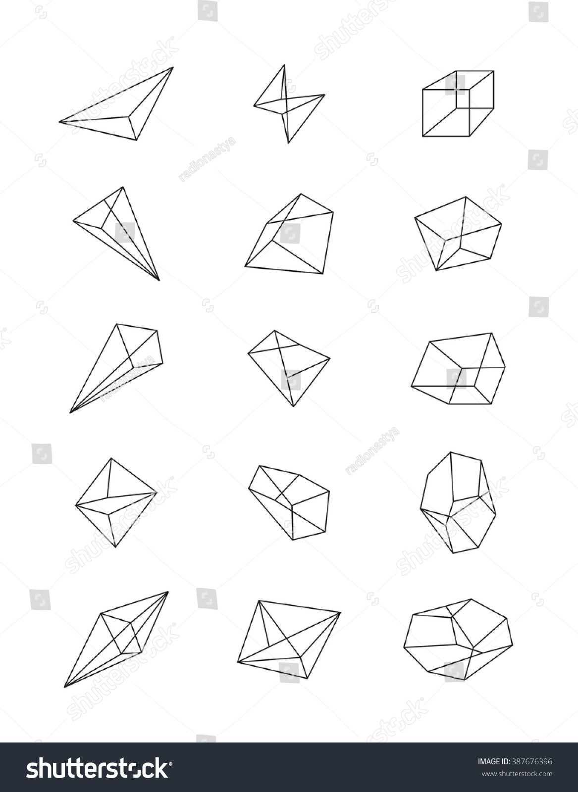 Simple Geometric Line Art : Royalty free set of geometric shapes in perspective