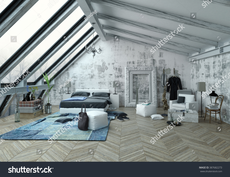 Slanted Roof Bedroom Large Bedroom Tall Vertical Slanted Windows Stock Illustration