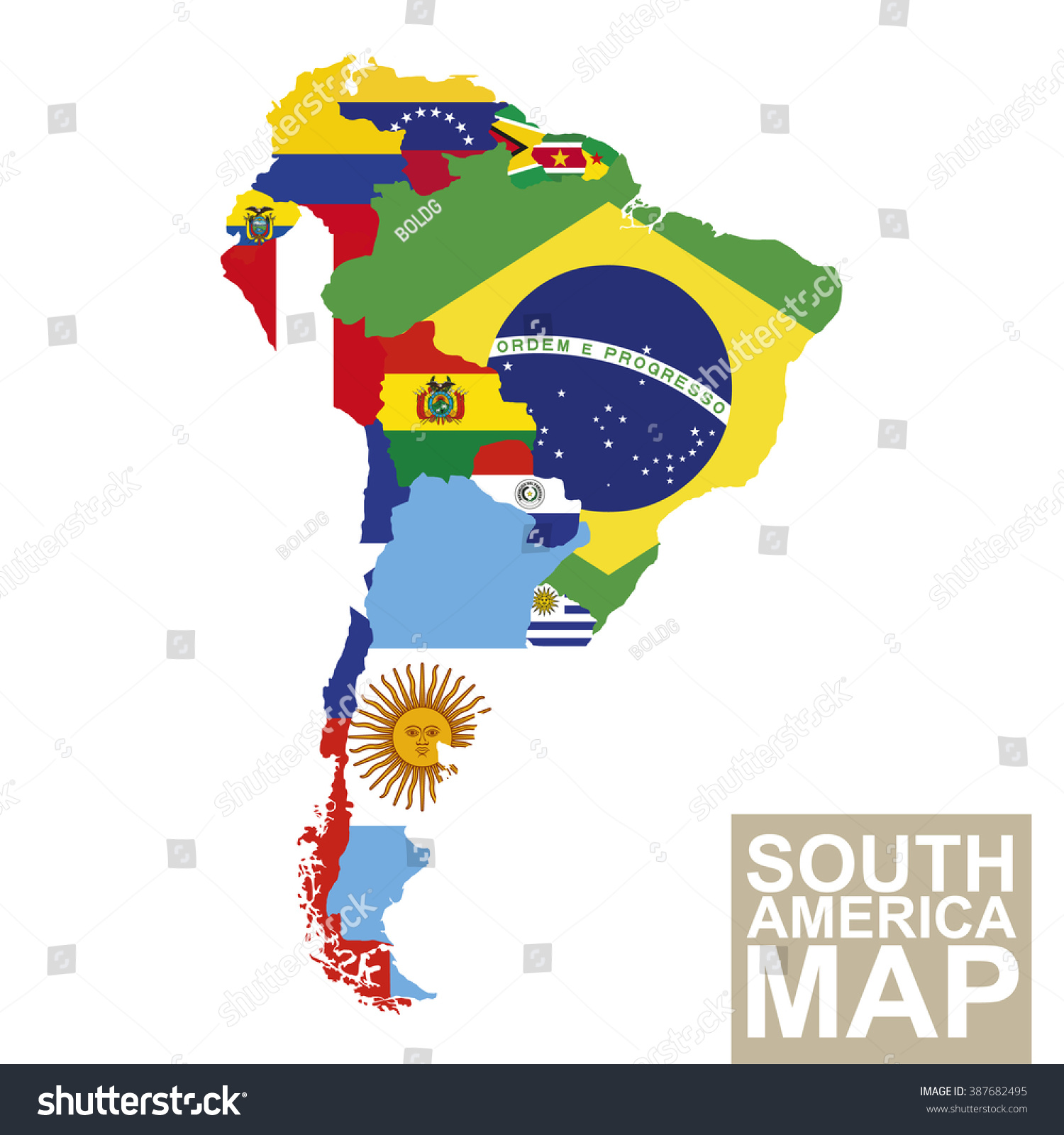South America Map Vector Map South Stock Vector Royalty Free