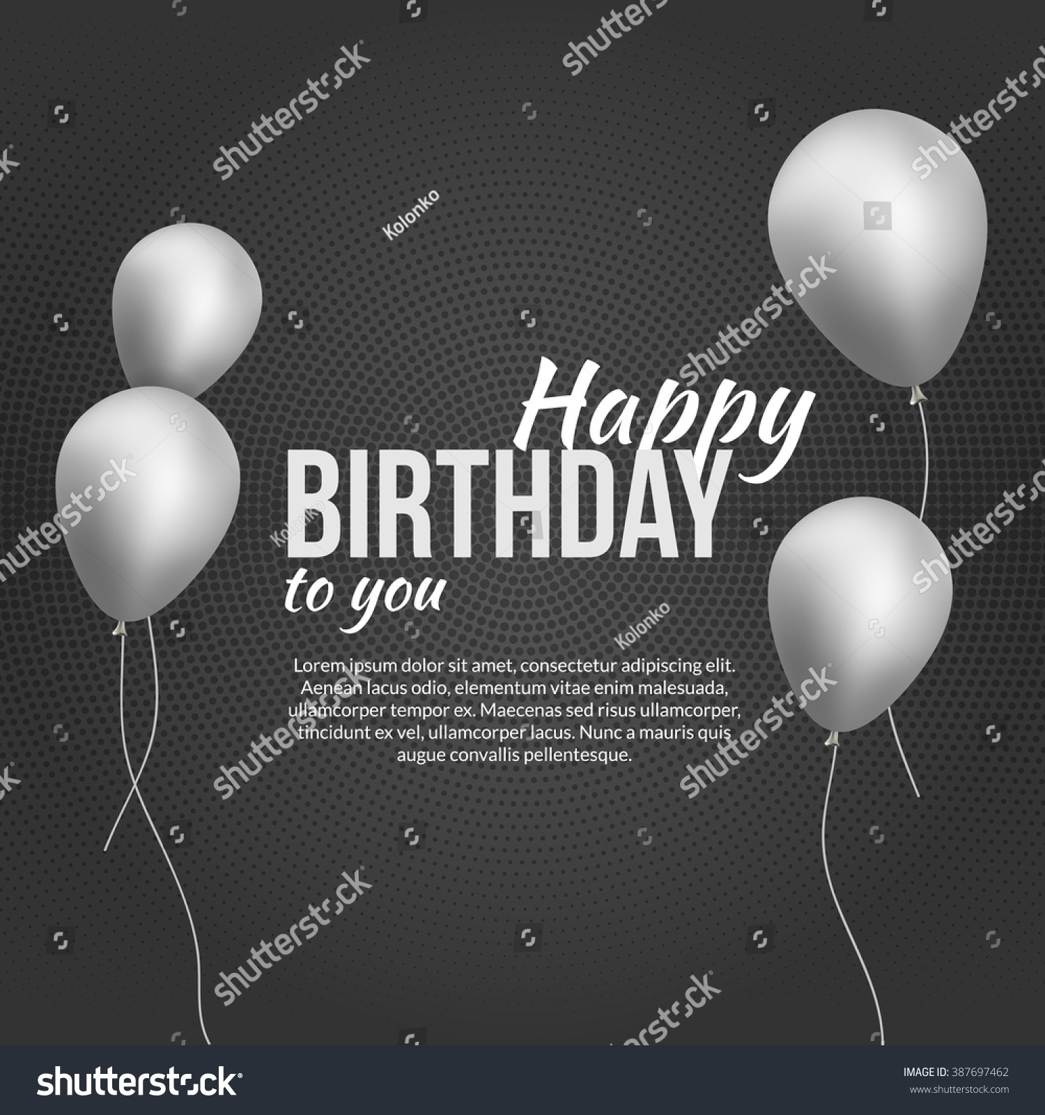 Happy Birthday Poster Background With Silver Balloons Ant Text Invitation