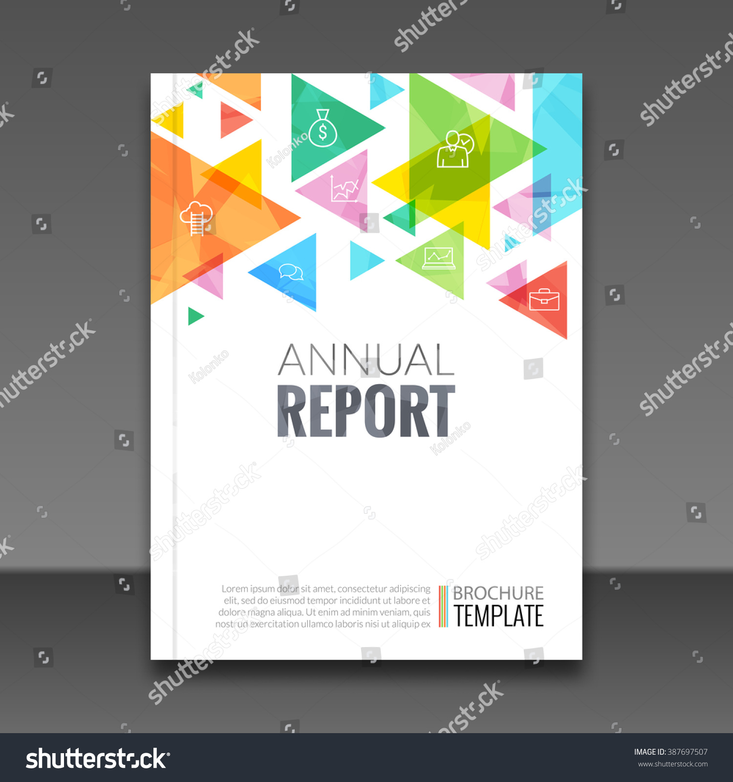 royalty cover report colorful triangle stock cover report colorful triangle geometric prospectus design background cover flyer magazine brochure book cover template layout vector illustration