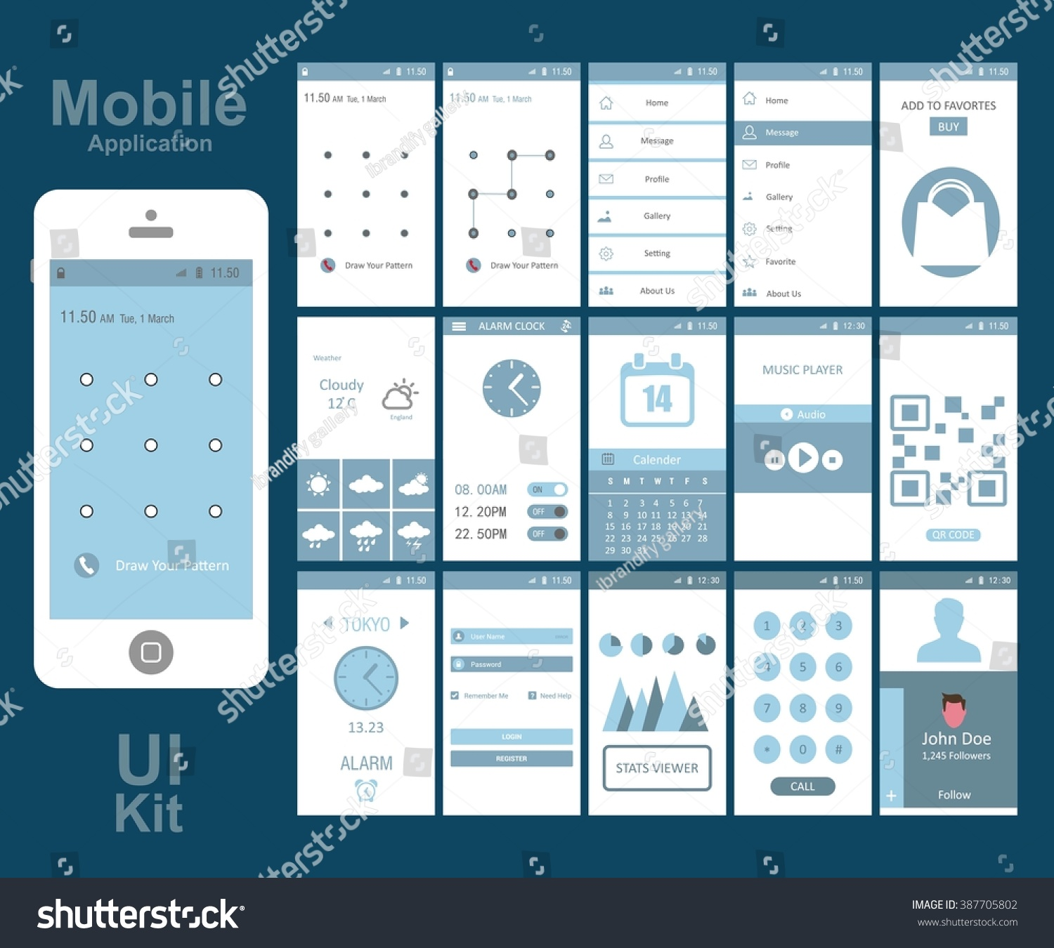 Mobile Application Interface Concept Vector Illustration